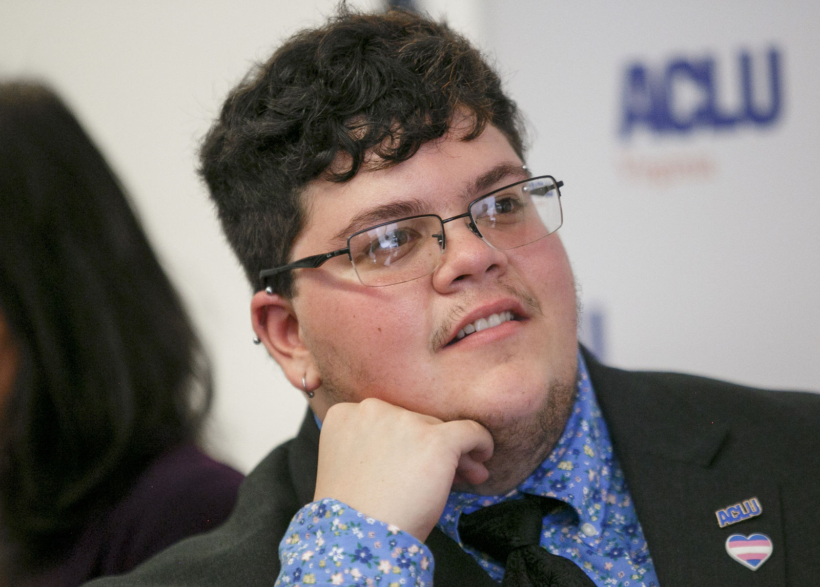 FILE - In this July 23, 2019, file photo, Gavin Grimm, who has become a national face for transgender students, speaks during a news conference held by The ACLU and the ACLU of Virginia at Slover Library in Norfolk, Va. (Kristen Zeis/The Daily Press via AP, File)