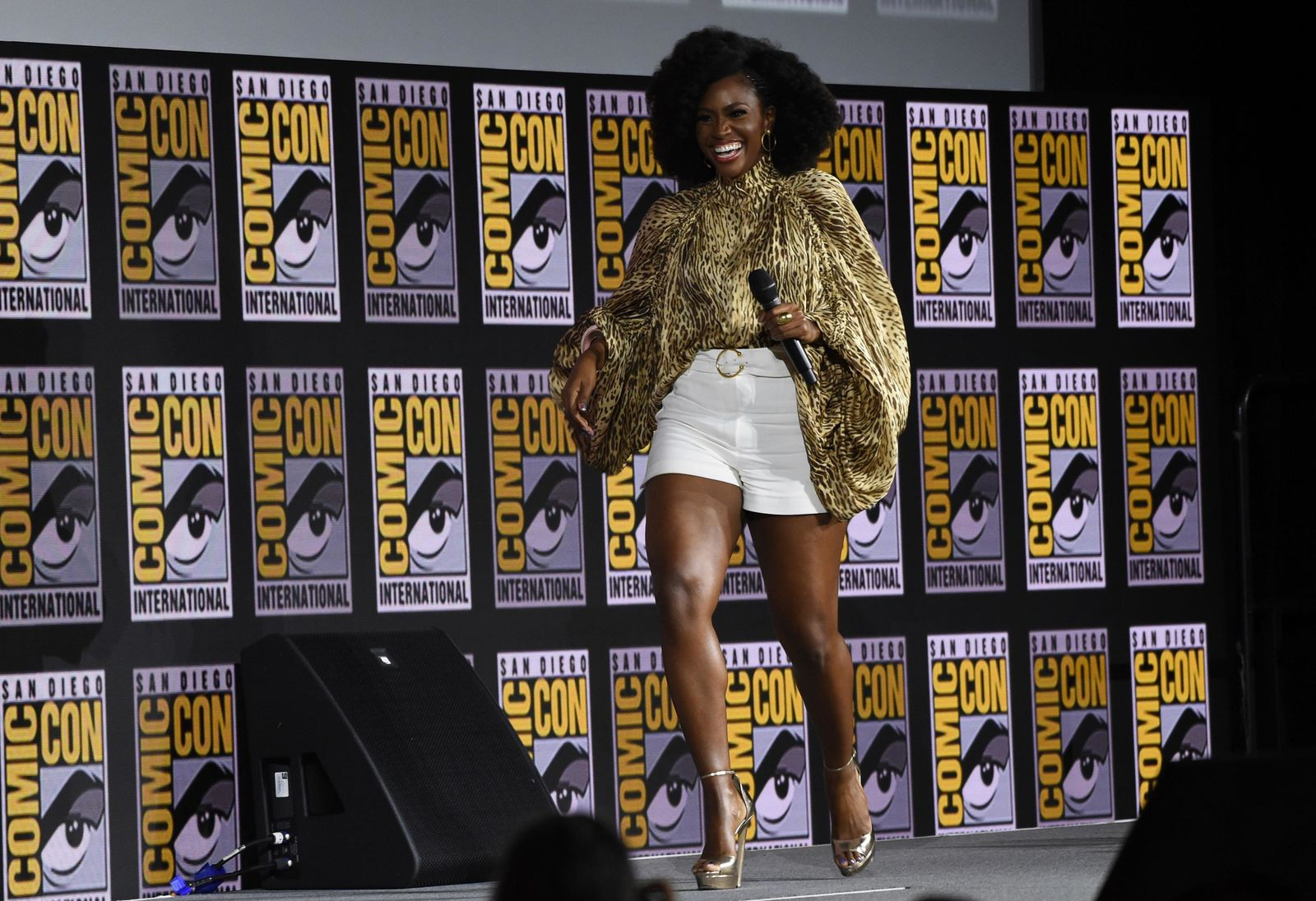 "Teyonah Parris walks on stage during the ""WandaVision"" portion of the Marvel Studios panel on day three of Comic-Con International on Saturday, July 20, 2019, in San Diego. (Photo by Chris Pizzello/Invision/AP)"