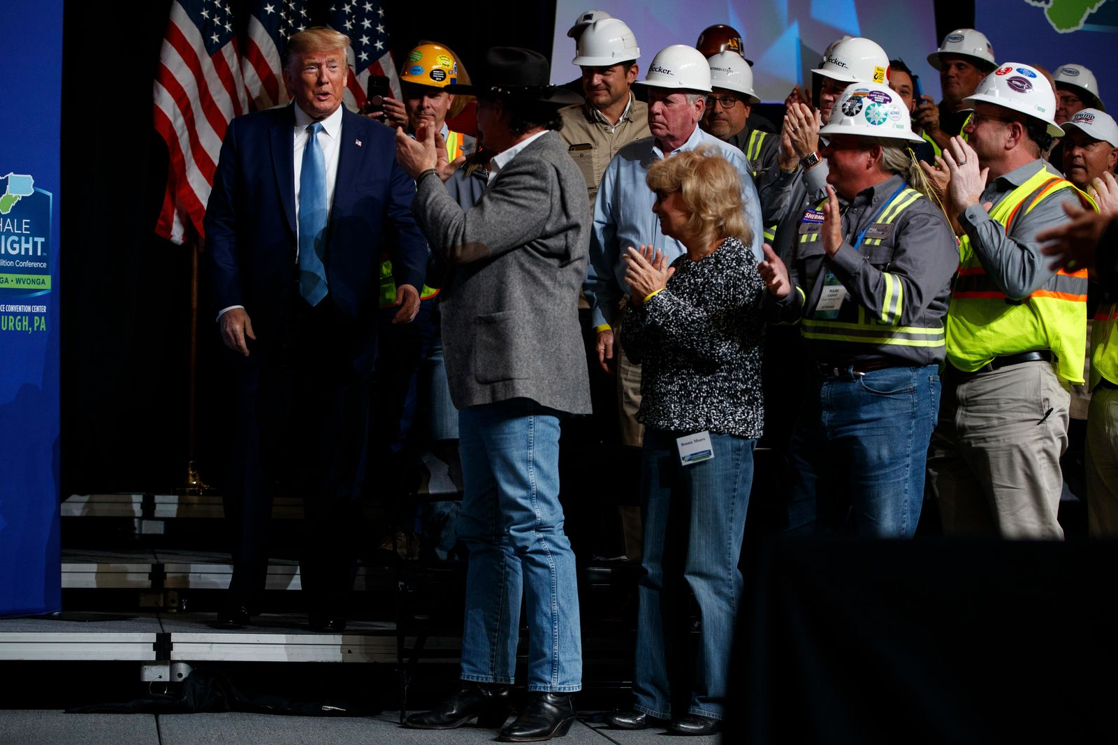 President Donald Trump arrives to speak as the 9th annual Shale Insight Conference at the David L. Lawrence Convention Center, Wednesday, Oct. 23, 2019, in Pittsburgh. (AP Photo/Evan Vucci)