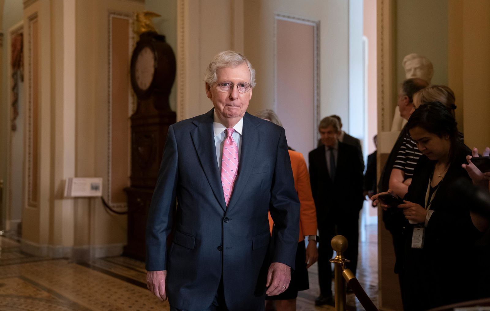 Senate Majority Leader Mitch McConnell, R-Ky., arrives to speak to reporters following the Republican Conference luncheon, at the Capitol in Washington, Tuesday, June 25, 2019. (AP Photo/J. Scott Applewhite)