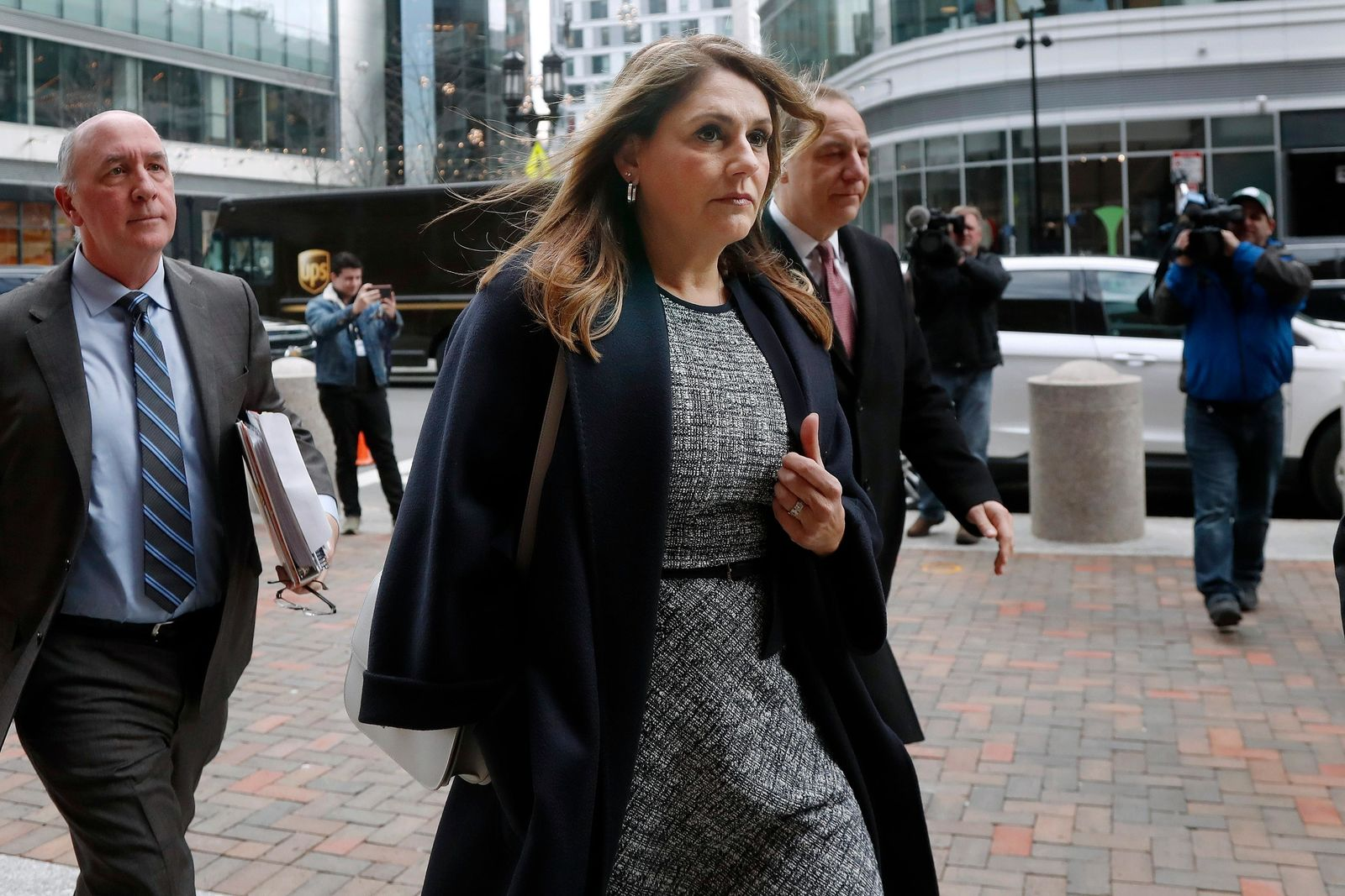 Michelle Janavs arrives at federal court, Tuesday, Feb. 25, 2020, in Boston, for sentencing in a nationwide college admissions bribery scandal. (AP Photo/Elise Amendola)