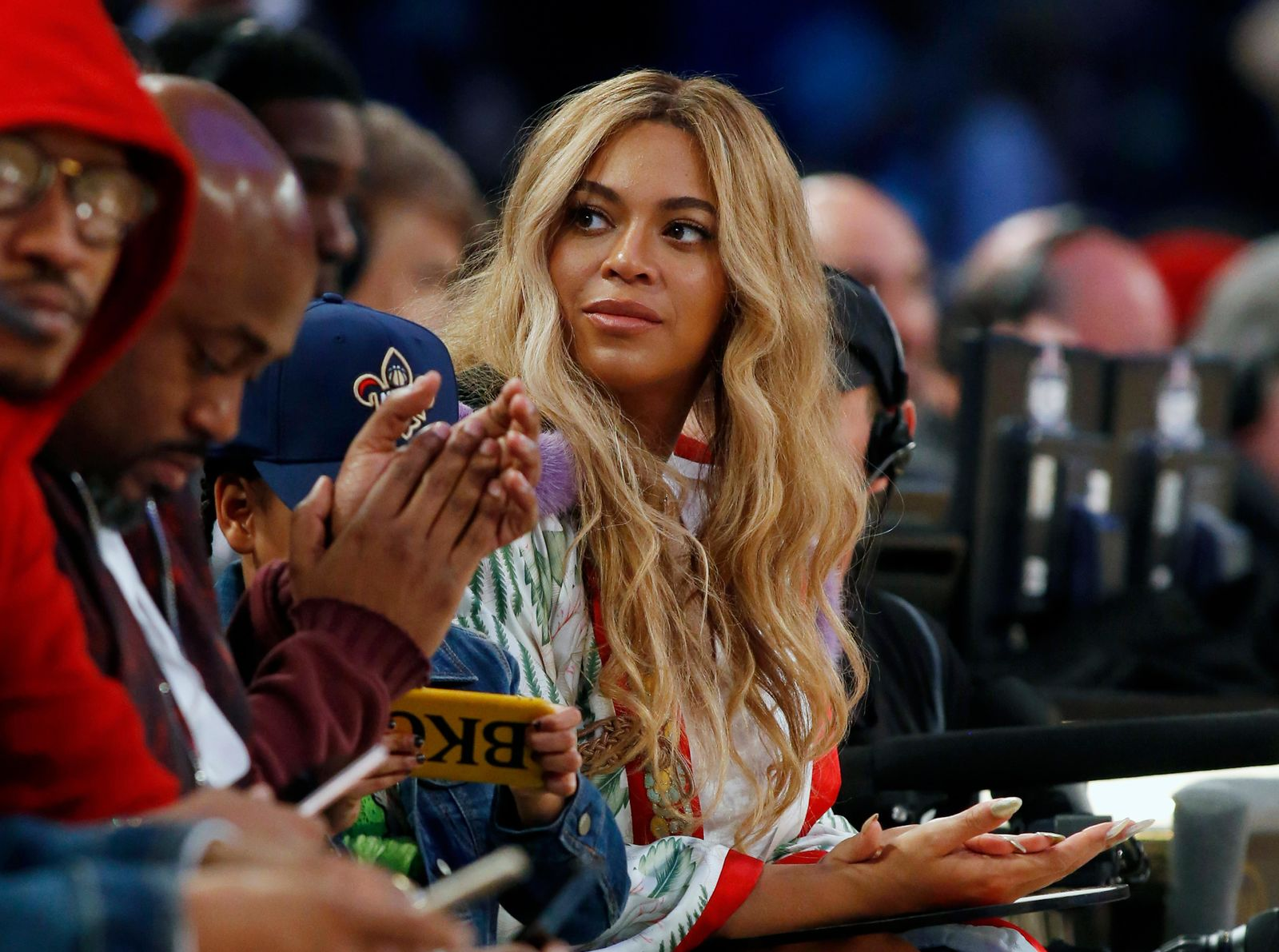 FILE - In this Feb. 19, 2017. file photo, Beyonce sits at court side during the second half of the NBA All-Star basketball game in New Orleans. (AP Photo/Max Becherer, File)
