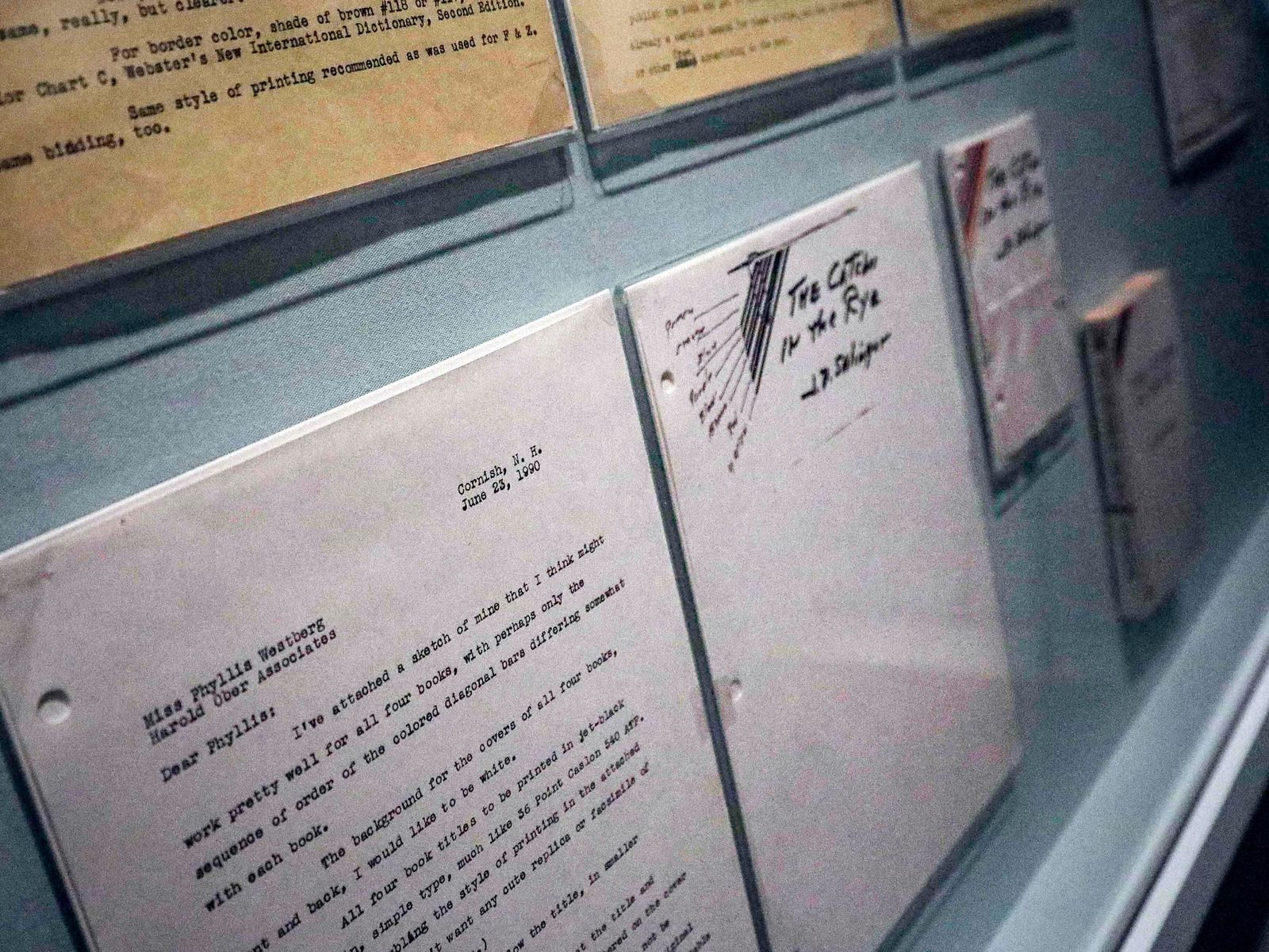 "A letter outlining the design for the 1951 novel ""The Catcher in the Rye"" is part of a J.D. Salinger exhibit being installed at the New York Public Library, Wednesday, Oct. 16, 2019, in New York. (AP Photo/Bebeto Matthews)"