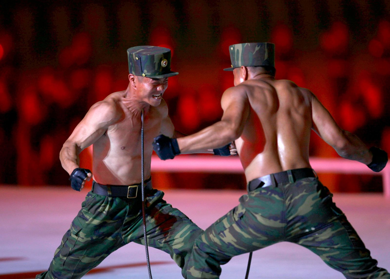 "North Korean soldiers show their skills during a mass game performance of ""The Land of the People"" at the May Day Stadium in Pyongyang, North Korea, Tuesday, June 25, 2019. (AP Photo/Cha Song Ho)"