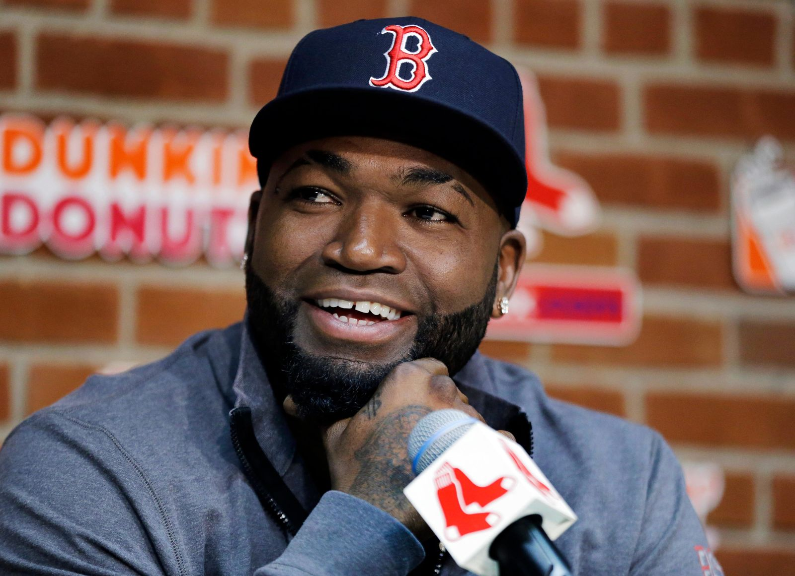 FILE - In this Sept. 30, 2016, file photo, Boston Red Sox's David Ortiz speaks during a news conference before a baseball game against the Toronto Blue Jays at Fenway Park, in Boston.{ } (AP Photo/Elise Amendola, File)