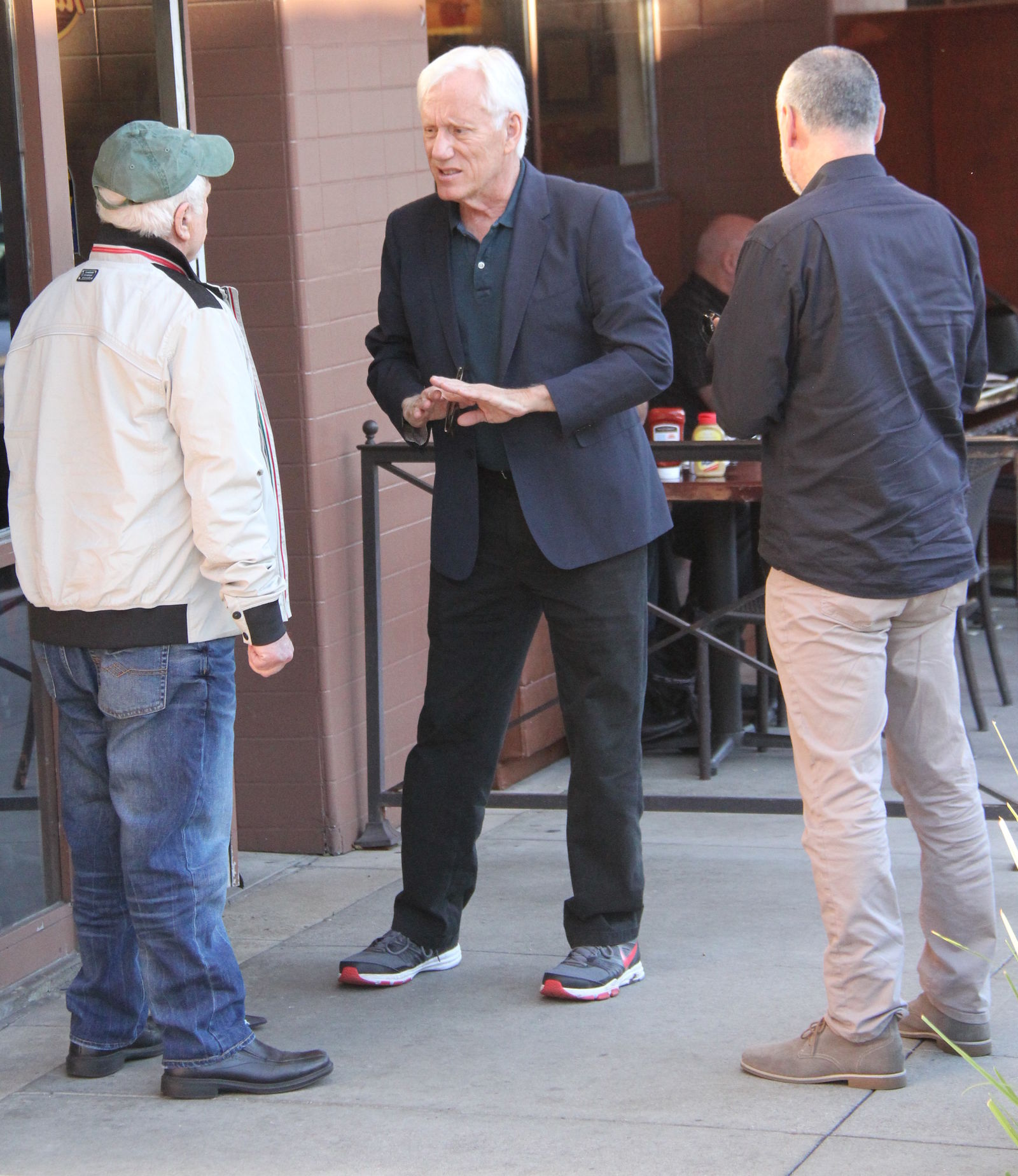James Woods in conversation with Richard Dreyfus after having lunch in Los Angeles, California. (When: Feb. 4, 2016. Credit: WENN.com)