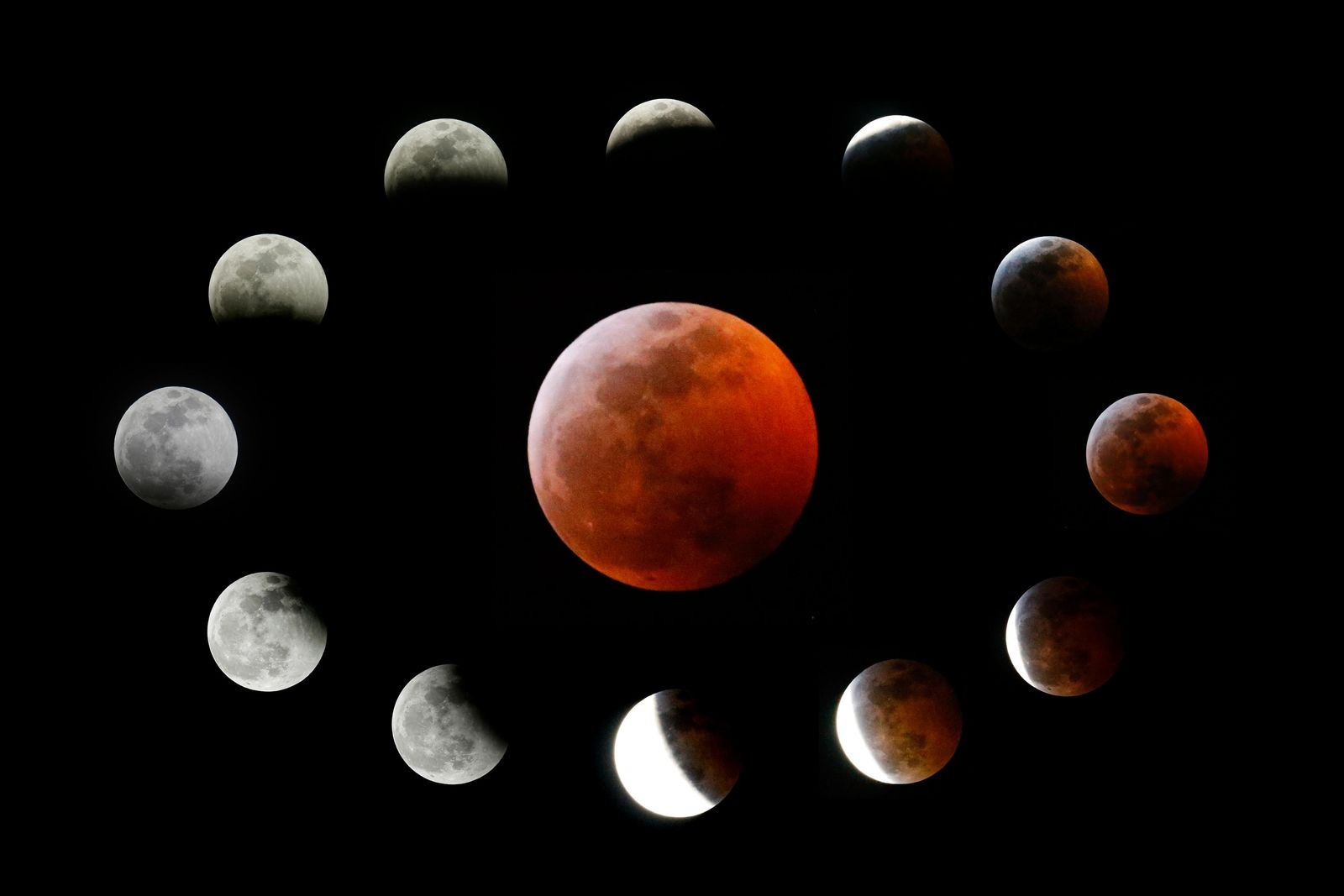 This combination photo shows the totally eclipsed moon, center, and others at the different stages during a total lunar eclipse, as seen from Los Angeles, Sunday, Jan. 20, 2019. It was also the year's first supermoon, when a full moon appears a little bigger and brighter thanks to its slightly closer position. During totality, the moon will look red because of sunlight scattering off Earth's atmosphere. That's why an eclipsed moon is sometimes known as a blood moon. In January, the full moon is also sometimes known as the wolf moon or great spirit moon. (AP Photo/Ringo H.W. Chiu)