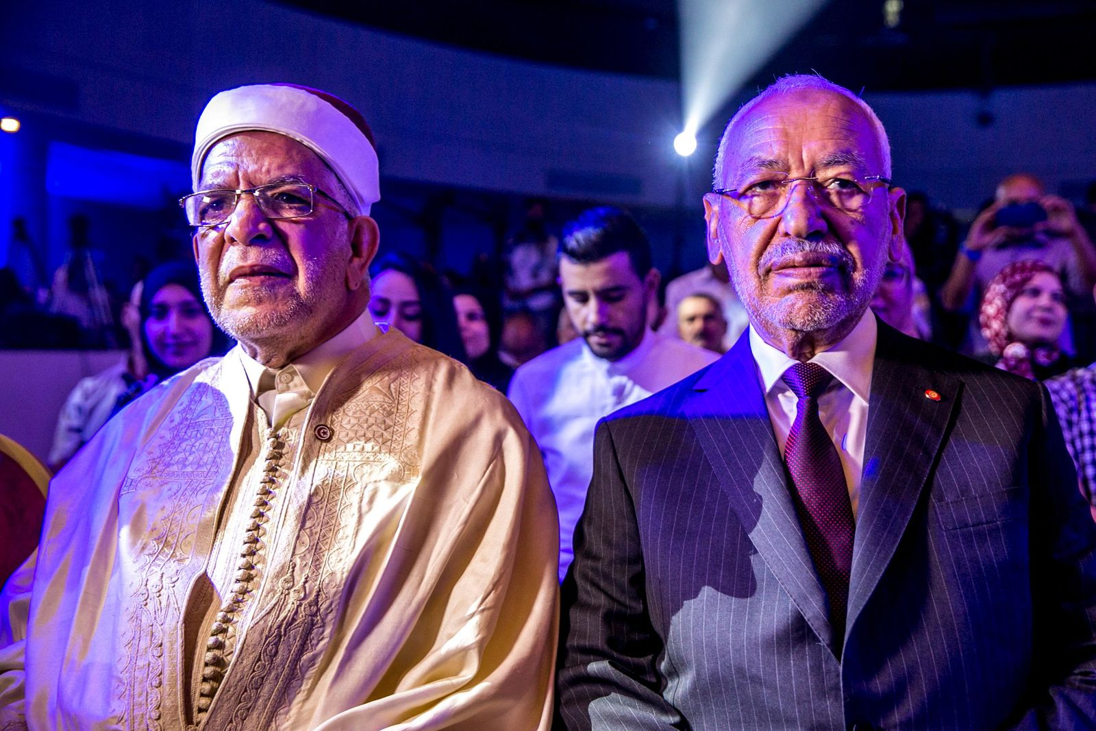 Vice President of the Islamist party Ennahda and candidate for the upcoming presidential elections Abdelfattah Mourou, left, and Tunisian Leader of the Islamist Ennahda party, Rachid Ghannouchi during a meeting with the members of the party in Tunis, Tunisia, Friday, Aug. 30, 2019. (AP Photo/Hassene Dridi)