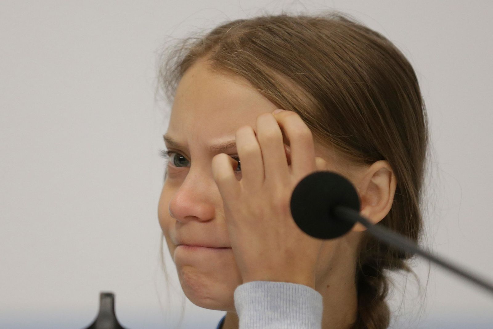 Climate activist Greta Thunberg takes part in a news conference at the COP25 climate summit in Madrid, Spain, Monday, Dec. 9, 2019.{ } (AP Photo/Andrea Comas)