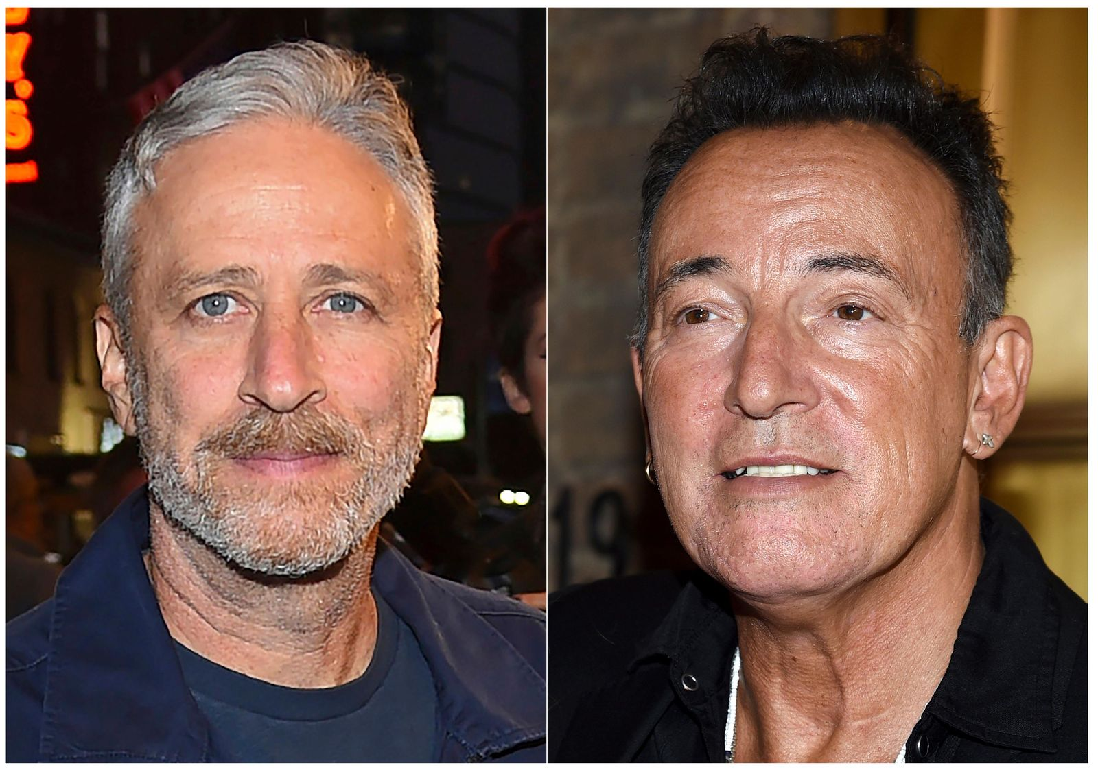 "This combination photo shows comedian Jon Stewart, left, and Bruce Springsteen at ""Springsteen On Broadway"" opening night at the Walter Kerr Theatre in New York. (Photo by Evan Agostini/Invision/AP, File)"