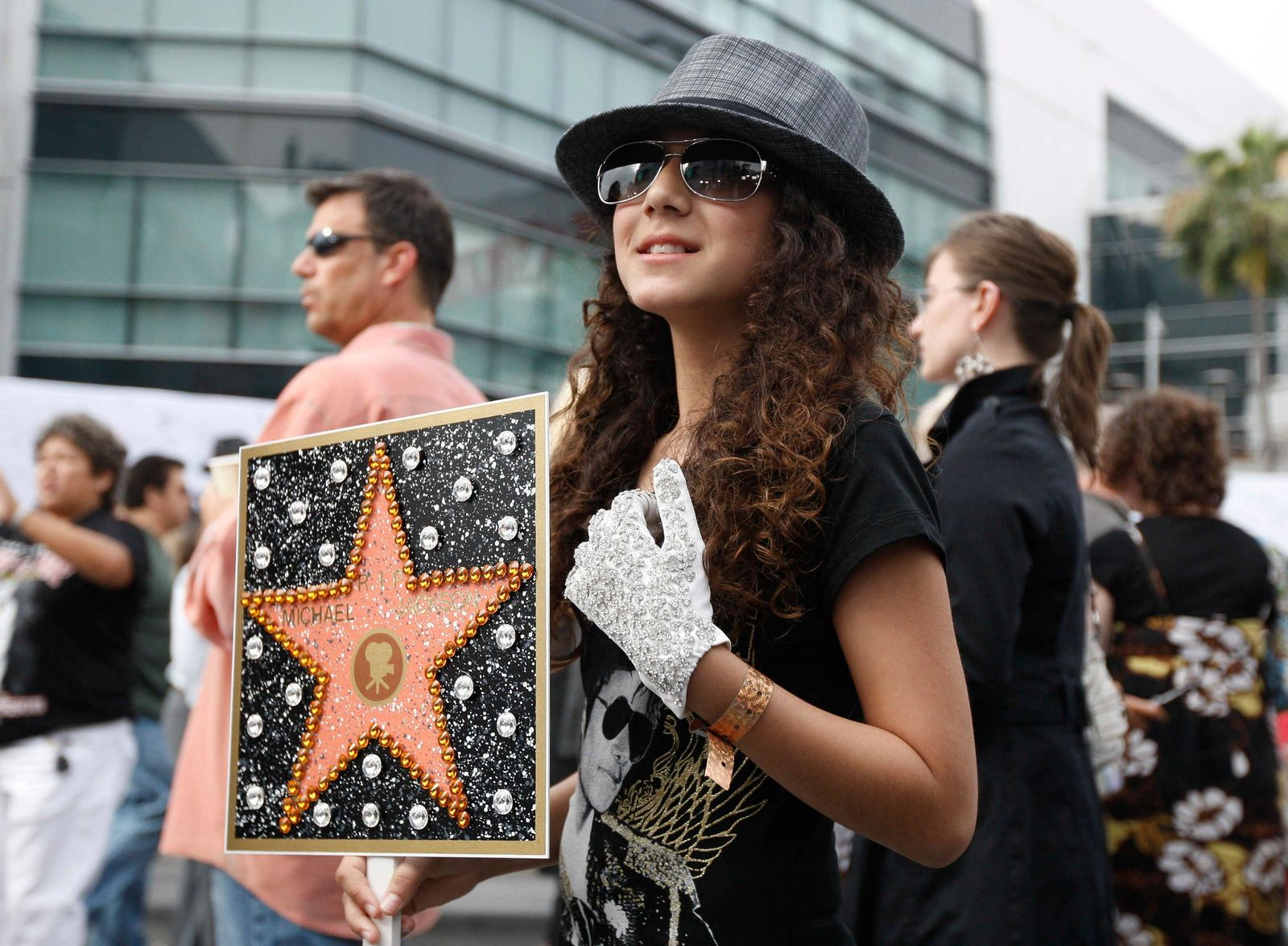 FILE - This July 7, 2009 file photo shows Serena Romaya, of San Diego, Calif., arrives at the memorial service for Michael Jackson  in Los Angeles. Tuesday, June 25, 2019, marks the tenth anniversary of Jackson's death. (AP Photo/Matt Sayles, File)