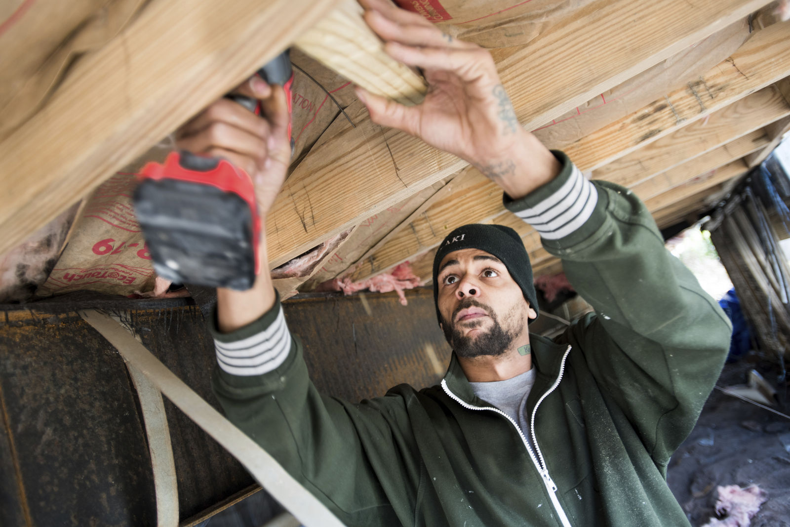 Joshua Voaklander works to repair his home damaged by flooding from Hurricane Florence Friday, Feb. 1, 2019, in Conway, S.C. Voaklander says that if floodwaters come inside the house again, he is moving. (AP Photo/Sean Rayford)
