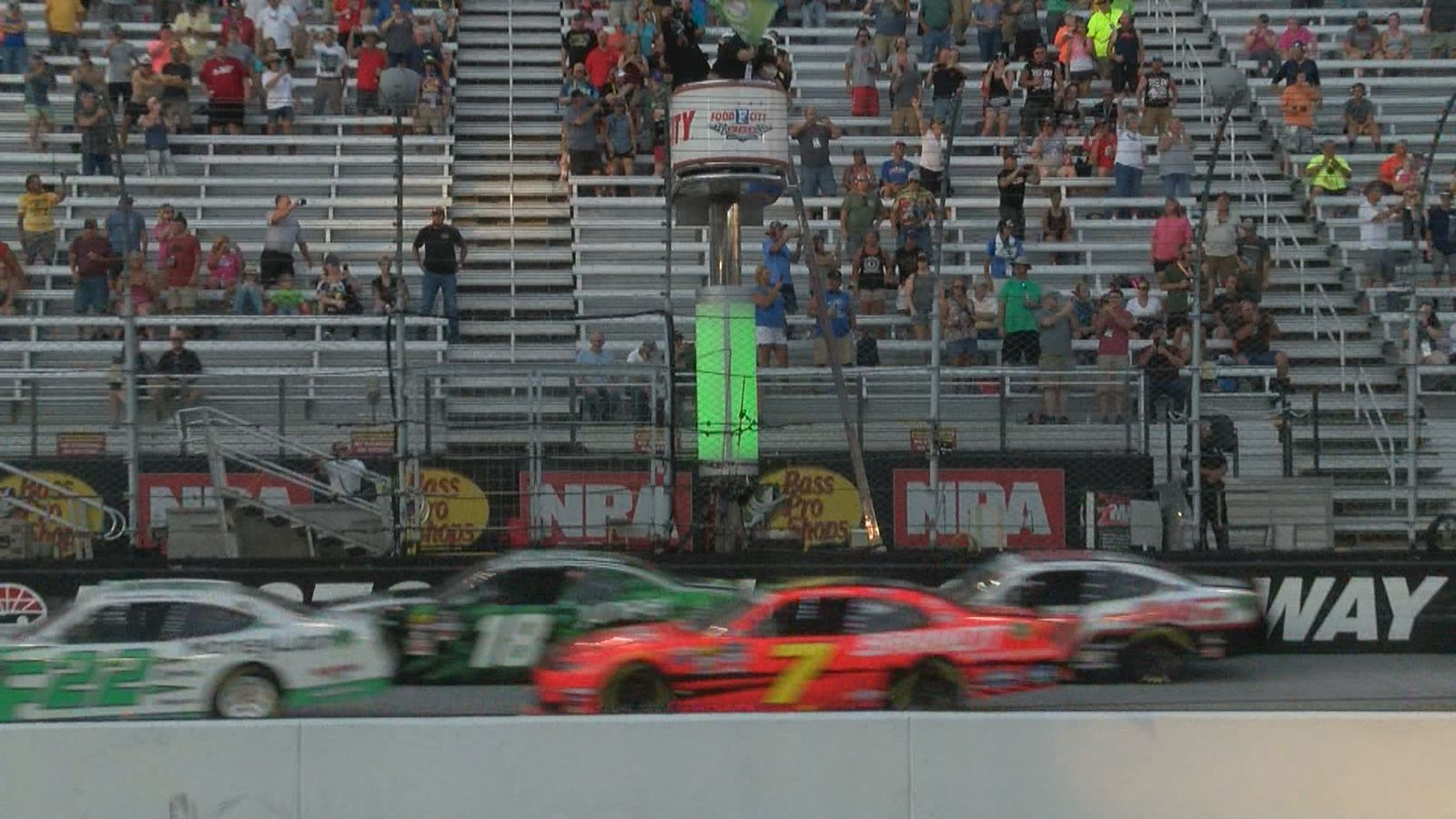 #7 Justin Allgaier is among those taking the green flag for the Food City 300. (WCYB Photo)<p></p>