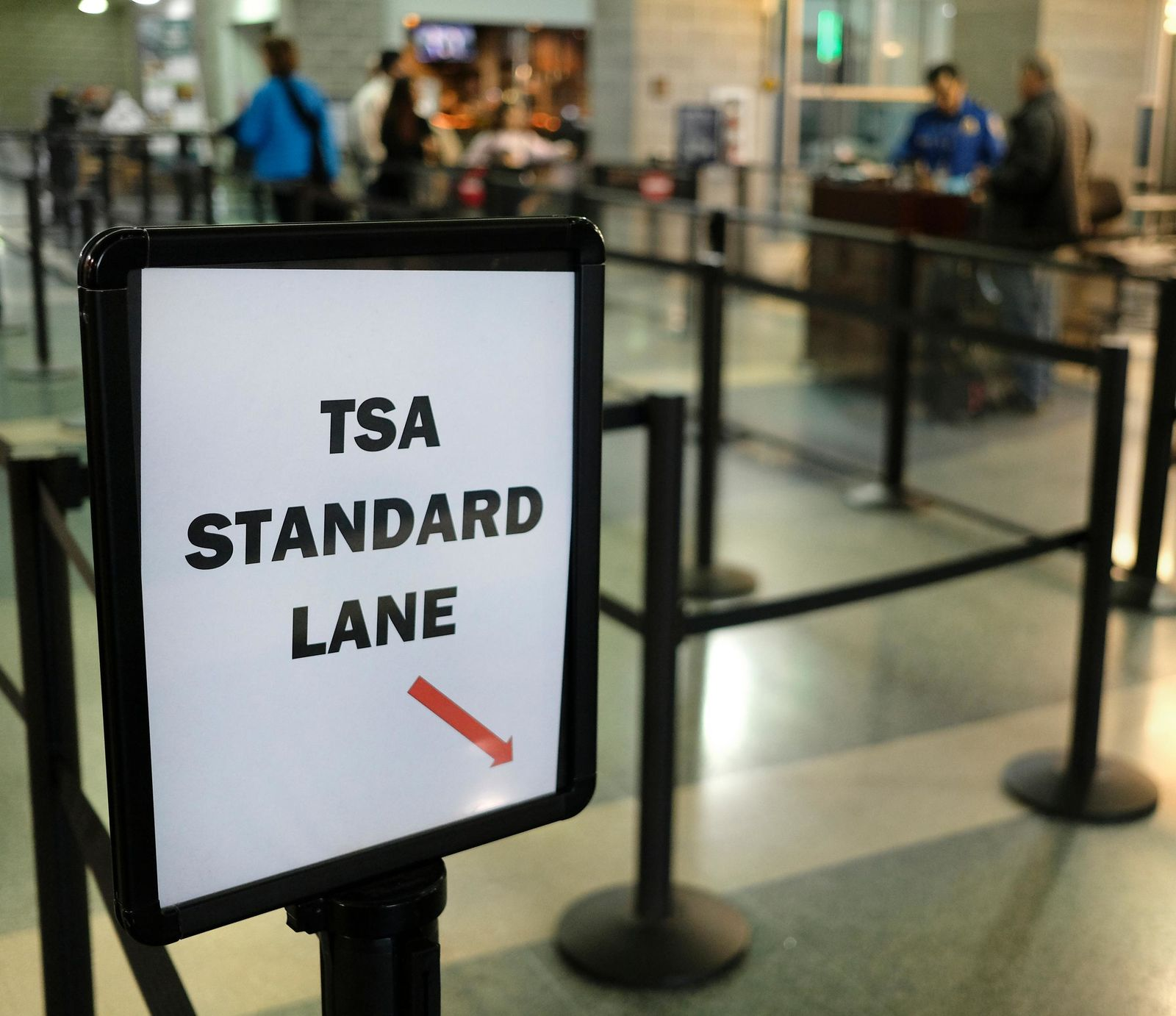 Wait lines were minimal at the TSA checkpoint in the Destin-Fort Walton Beach Airport in Valparaiso, Fla., Thursday, Jan. 17, 2019. TSA airport screeners are working without pay during the government shutdown. (Michael Snyder/Northwest Florida Daily News via AP)