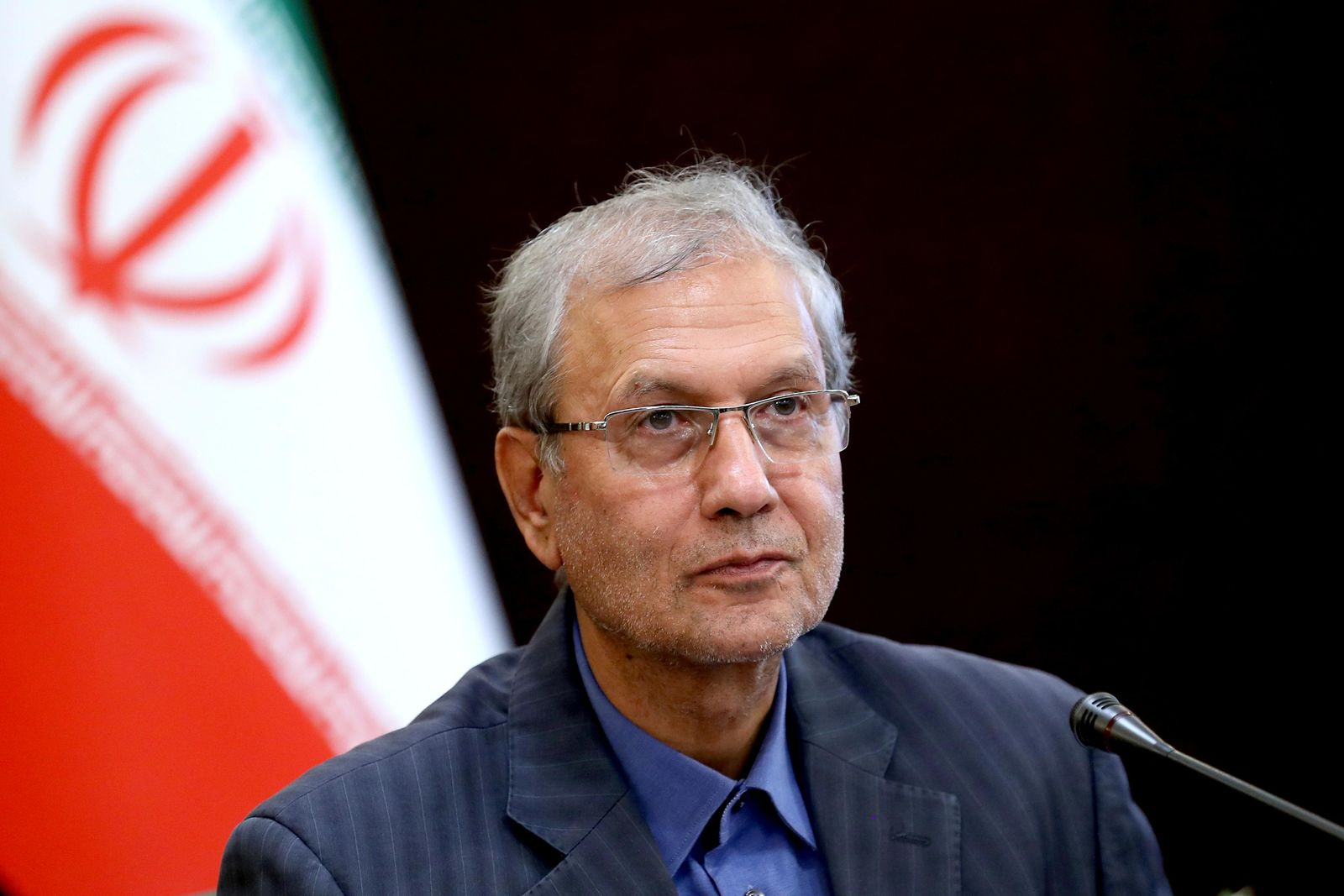 "In this July 7, 2019, photo, Iran's government spokesman Ali Rabiei speaks in a press briefing in Tehran, Iran. Iran will ""take a strong step"" away from its 2015 nuclear deal with world powers if Europe cannot offer the country new terms by a deadline at the end of this week, Rabiei said Monday as top Iranian diplomats traveled to France and Russia for last-minute talks. (AP Photo/Ebrahim Noroozi)"