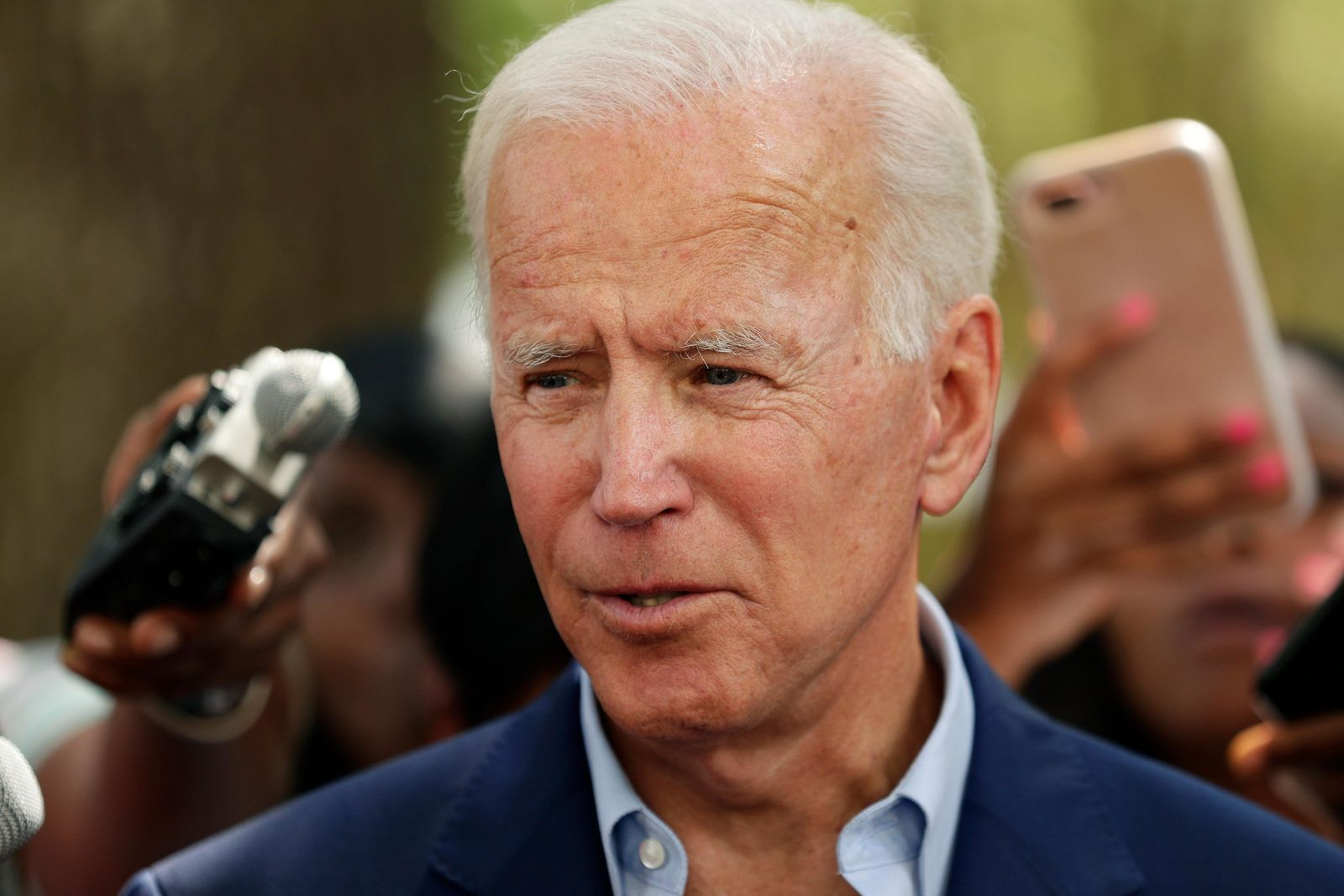 Democratic presidential candidate former Vice President Joe Biden speaks to members of the media following a visit with students on the campus of Texas Southern University Friday, Sept. 13, 2019, in Houston. (AP Photo/Eric Gay)