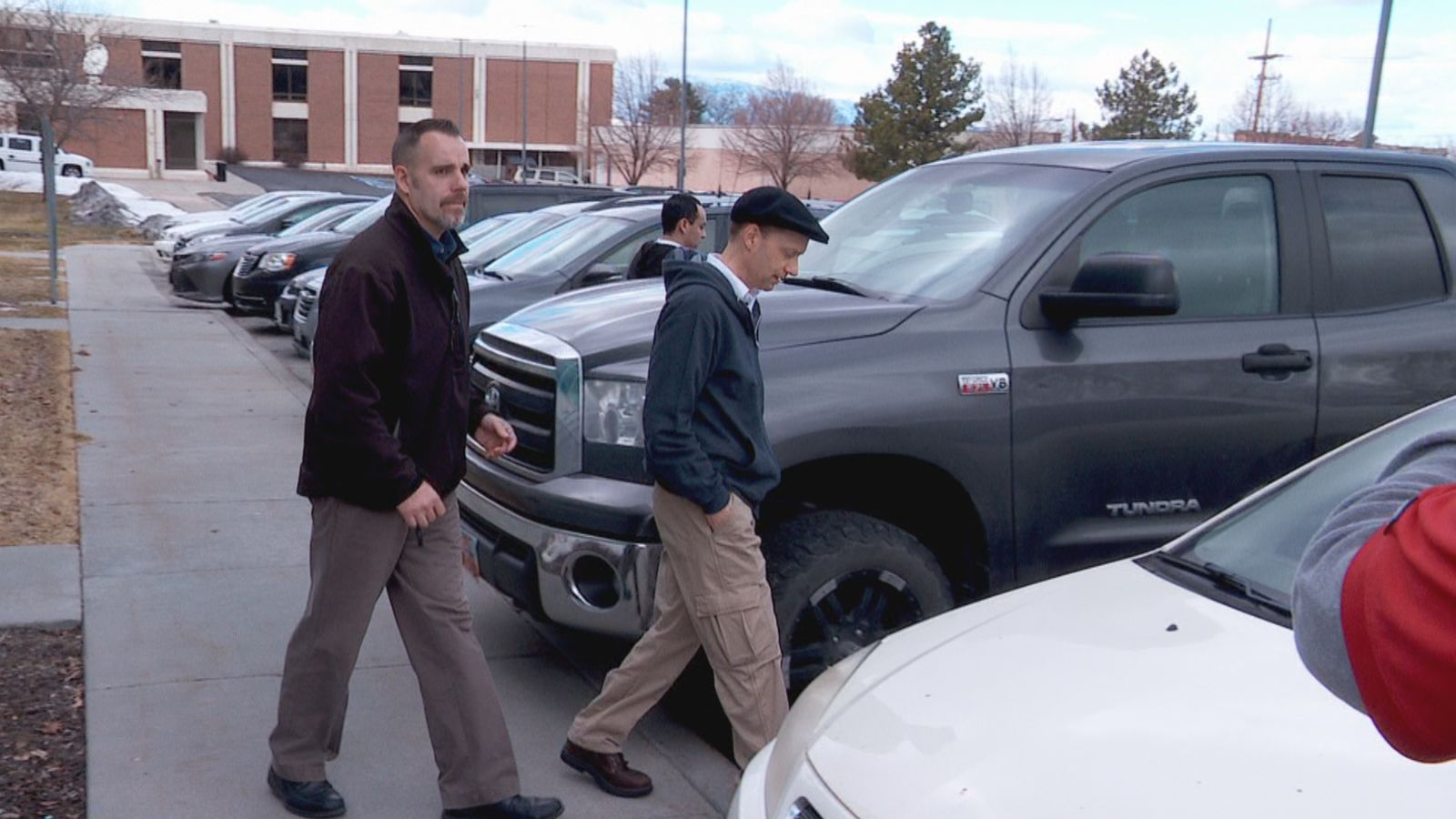 CJ Haynie's father Colin Haynie was seen leaving district court in Tooele County on Monday, Jan. 27, 2020 after his son's first court hearing. CJ Haynie is accused of the murders of his mother and three younger siblings, as well as the attempted murder of his father. (Jeremy Castellano / KUTV)