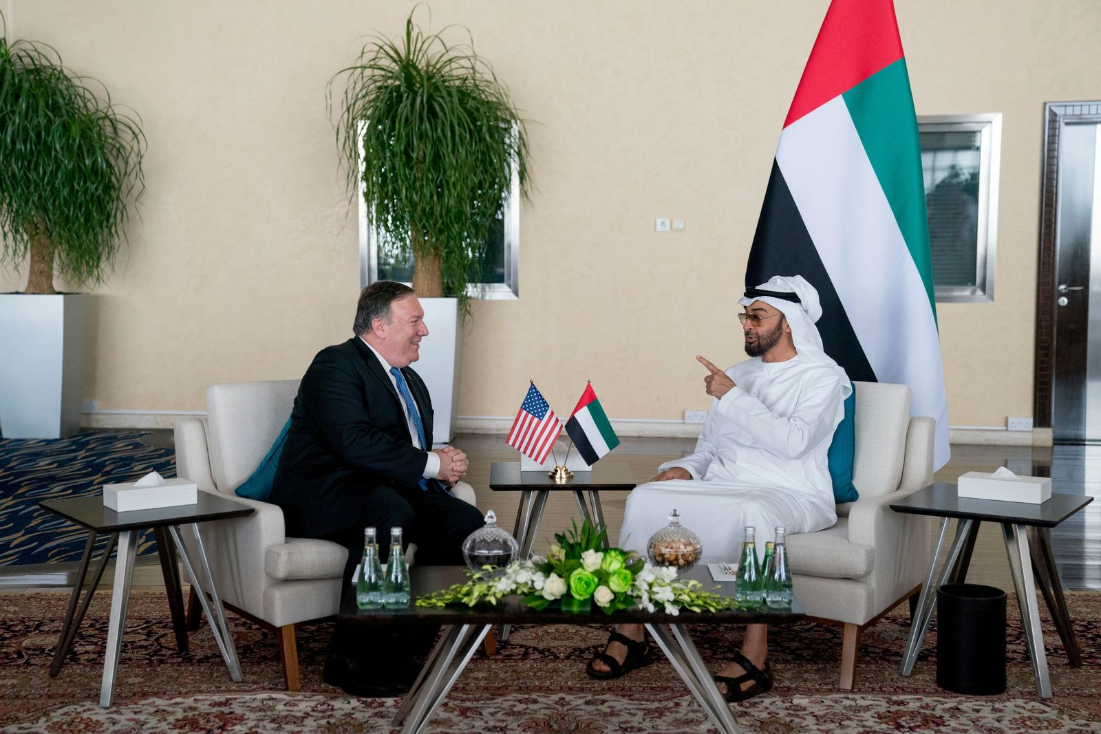U.S. Secretary of State Mike Pompeo, left, and Abu Dhabi's Crown Prince Sheikh Mohammed bin Zayed Al Nahyan meet at the Al Shati Palace in Abu Dhabi?, United Arab Emirates, Tuesday, July 10, 2018. Pompeo is on a trip traveling to North Korea, Japan, Vietnam, Afghanistan, Abu Dhabi, and Brussels. (AP Photo/Andrew Harnik, Pool)