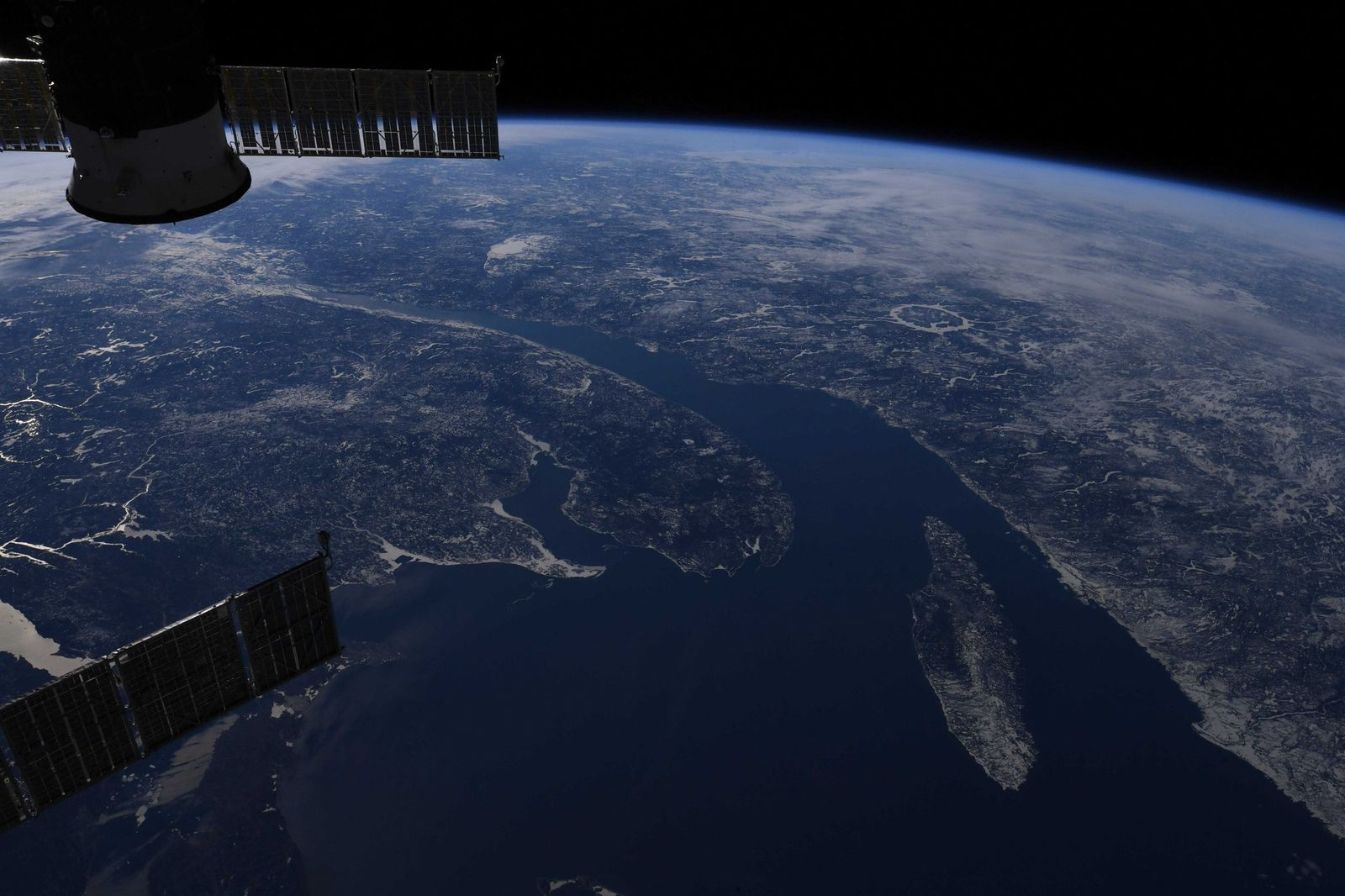 The majestic St. Lawrence. (Photo & Caption David Saint-Jacques, NASA)