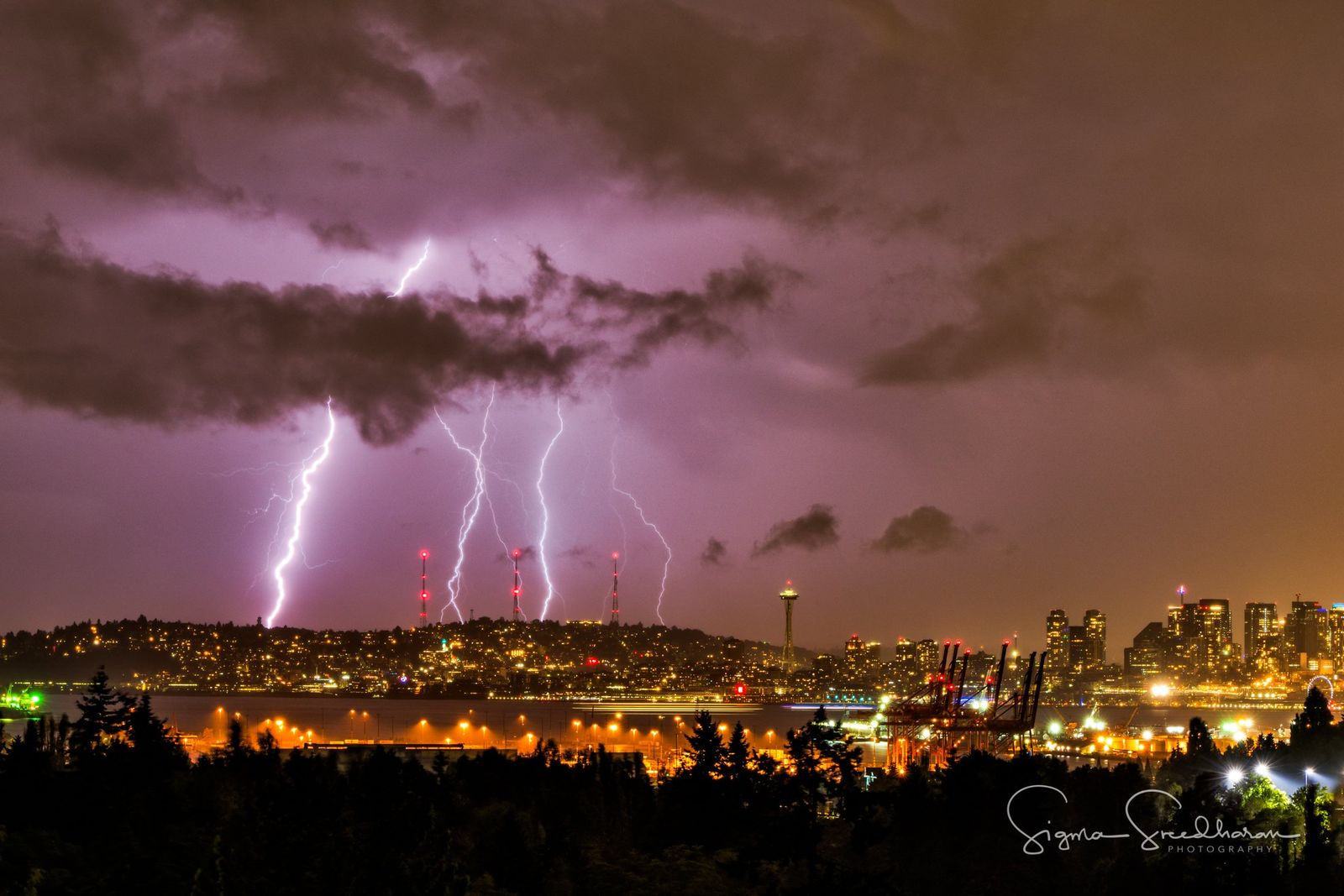 Lightning over Seattle (Photo: Sigma Sreedharan Photography)