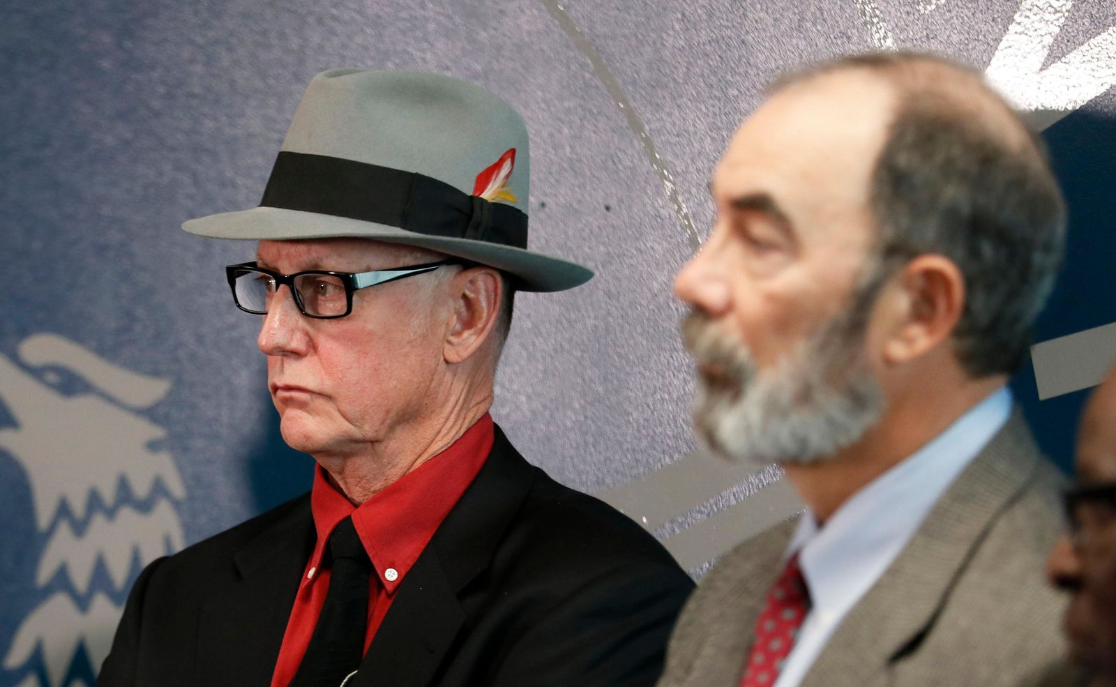 Retired Atlanta homicide detectives Danny Agan (left) and Lou Arcangeli both worked on the case.(Bob Andres/Atlanta Journal-Constitution via AP)