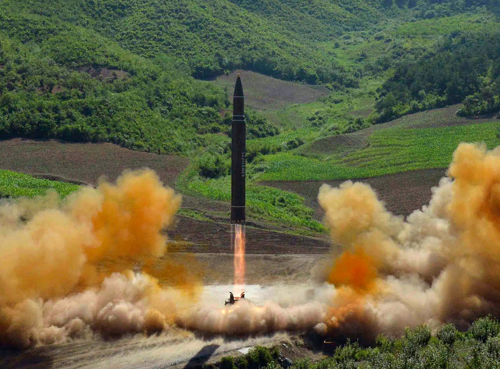 FILE - This file photo distributed July 4, 2017, by the North Korean government shows what was said to be the launch of a Hwasong-14 intercontinental ballistic missile, ICBM, in North Korea's northwest. (Korean Central News Agency/Korea News Service via AP, File)