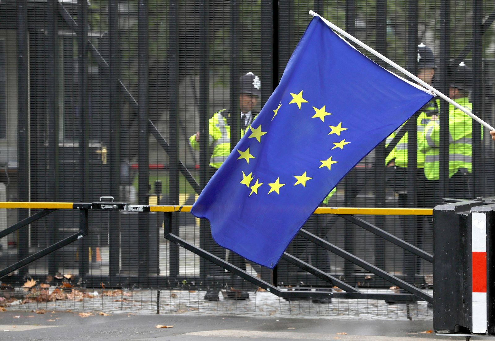 A European Union flag is flown in front of entrance gates to Parliament in London, Monday, Sept. 9, 2019. (AP Photo/Kirsty Wigglesworth)