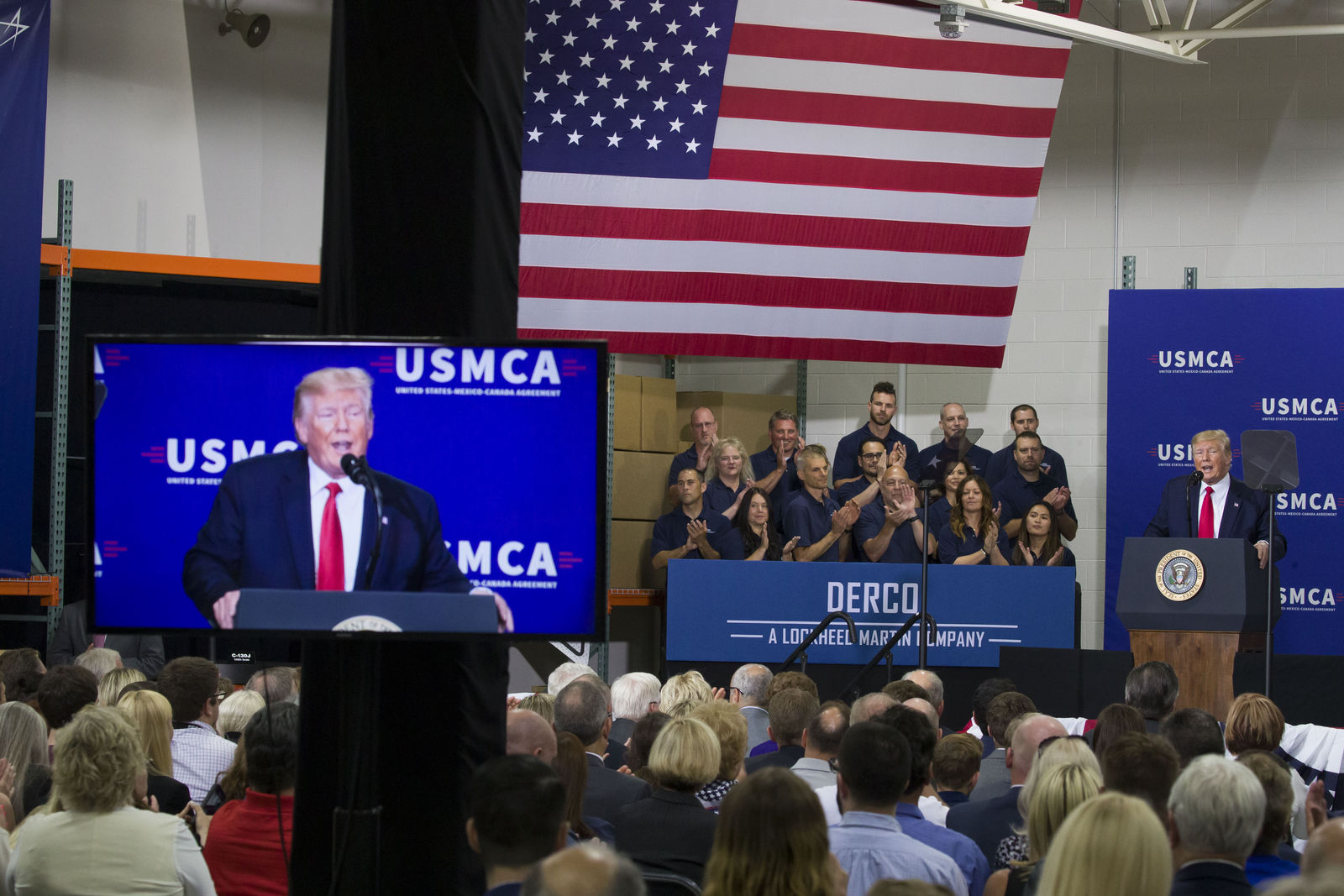 President Donald Trump speaks at Derco Aerospace Inc., a subsidiary of Lockheed Martin, Friday, July 12, 2019, in Milwaukee. (AP Photo/Alex Brandon)