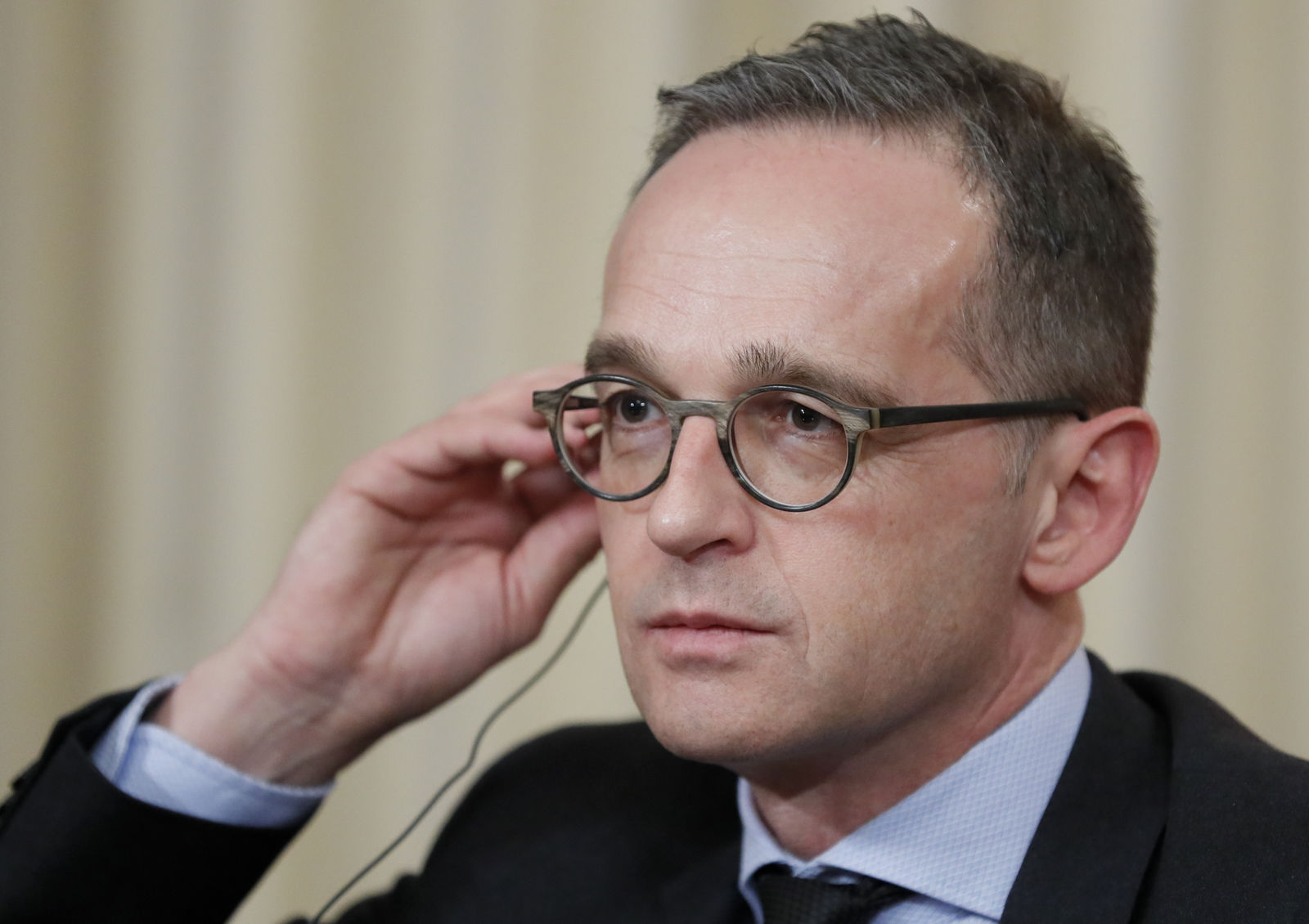 Germany's Foreign Minister Heiko Maas attends a joint news conference after his talks with Russian Foreign Minister Sergey Lavrov in Moscow, Russia, Friday, Jan. 18, 2019. Germany's foreign minister has urged Russia to save a key arms treaty with the U.S. to prevent a new arms race. (AP Photo)