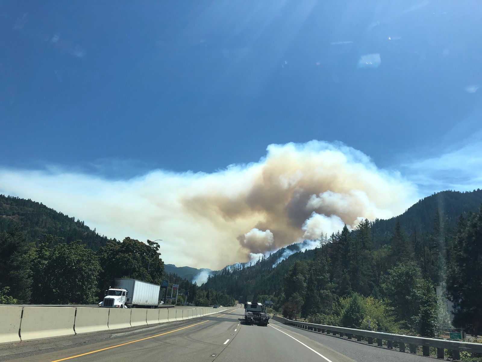 Smoke from the Milepost 97 Fire as seen from Interstate 5 on Thursday, July 25, 2019. (ODOT/CC by 2.0)