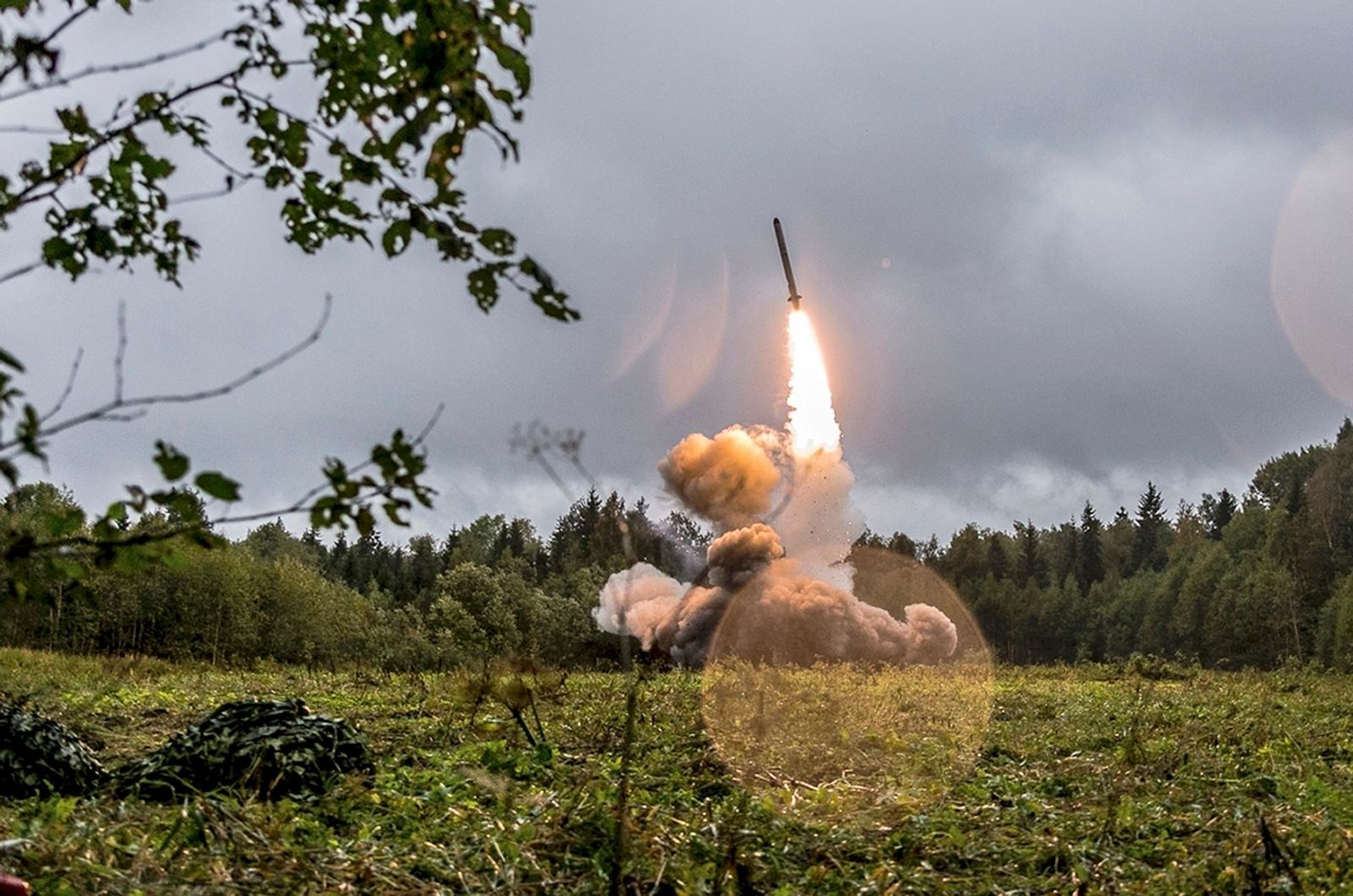 This undated file photo provided Tuesday, Sept. 19, 2017, by Russian Defense Ministry official web site shows a Russian Iskander-K missile launched during a military exercise at a training ground at the Luzhsky Range, near St. Petersburg, Russia.{ } (Russian Defense Ministry Press Service via AP/File)