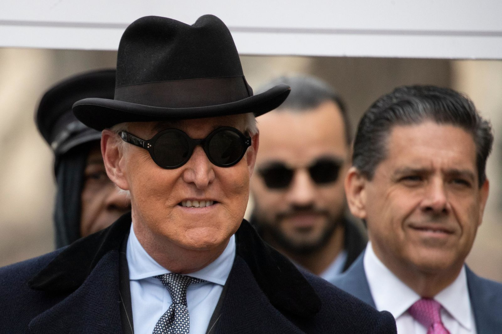 Roger Stone arrives for his sentencing at federal court in Washington, Thursday, Feb. 20, 2020. Roger Stone, a staunch ally of President Donald Trump, faces sentencing on his convictions for witness tampering and lying to Congress. (AP Photo/Manuel Balce Ceneta)