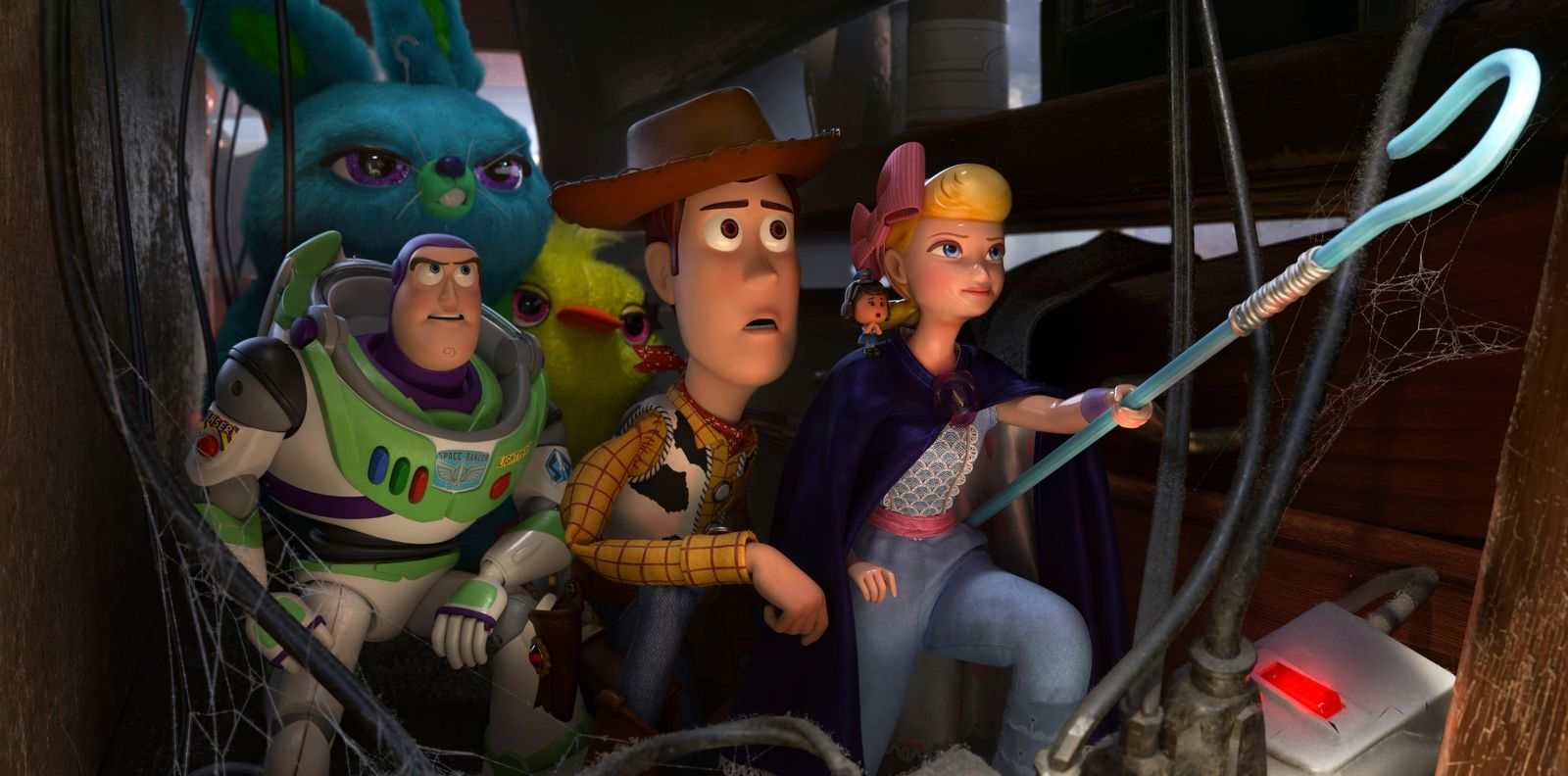 "This image released by Disney shows, foreground from left, Buzz Lightyear, voiced by Tim Allen, Woody, voiced by Tom Hanks and Bo Peep, voiced by Annie Potts in a scene from ""Toy Story 4.""(Disney/Pixar via AP)"