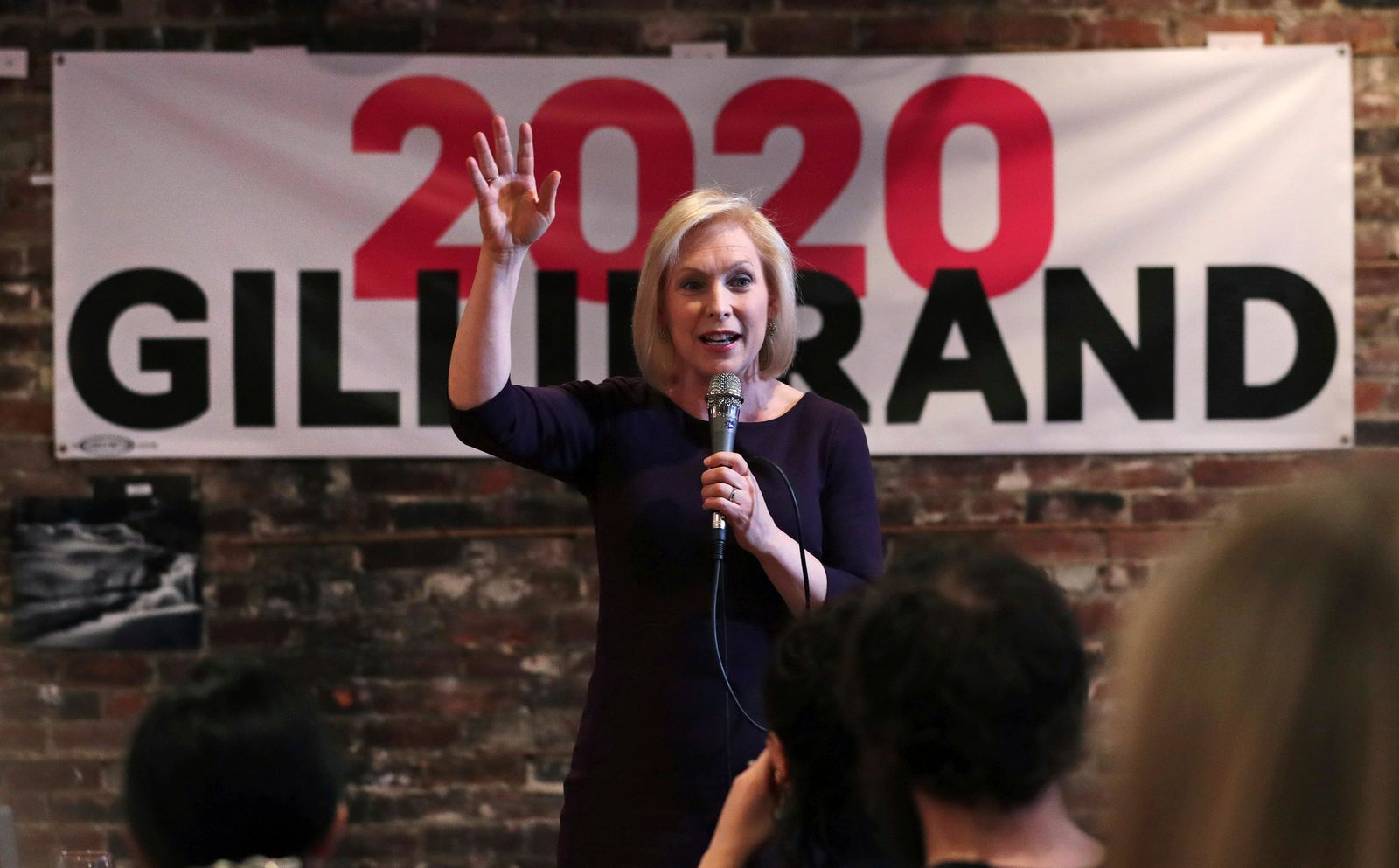 Democratic presidential candidate Sen. Kirsten Gillibrand, D-N.Y., addresses a gathering during a campaign stop at a coffee house in Dover, N.H., Friday, April 5, 2019. (AP Photo/Charles Krupa)
