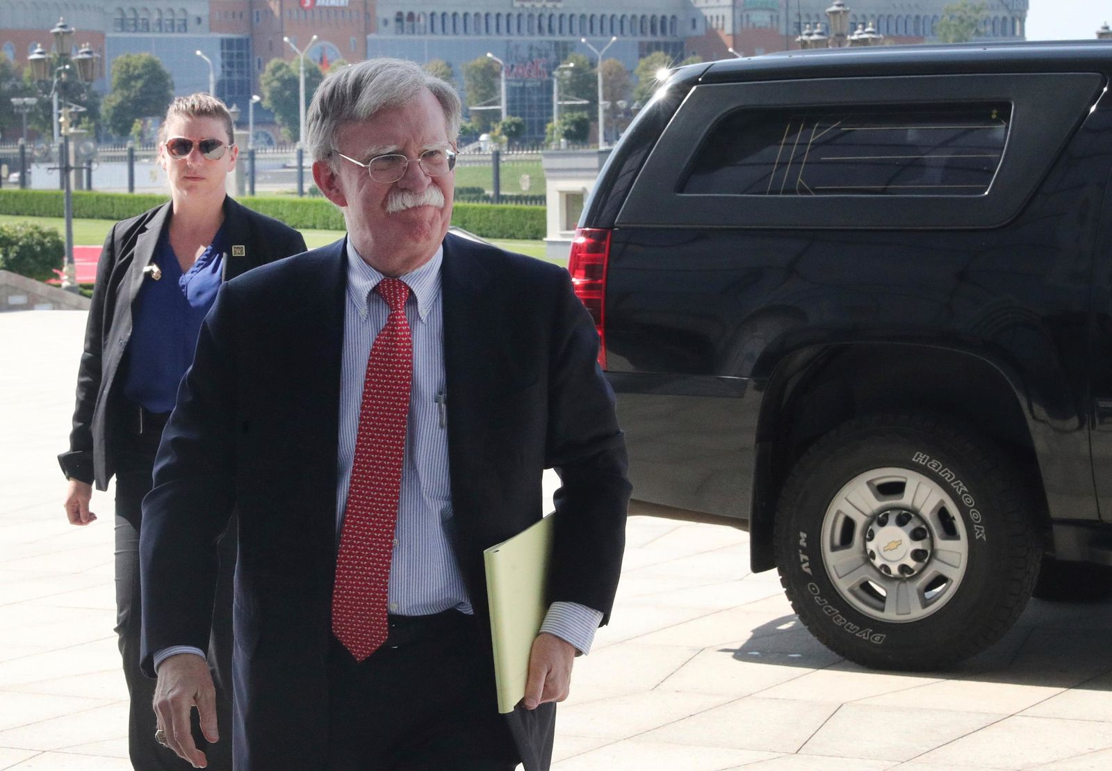 John Bolton, US National Security Advisor, arrives for a meeting with Belarusian President Alexander Lukashenko in Minsk, Belarus, Thursday, Aug. 29, 2019. (Nikolai Petrov/BelTA Pool Photo via AP)