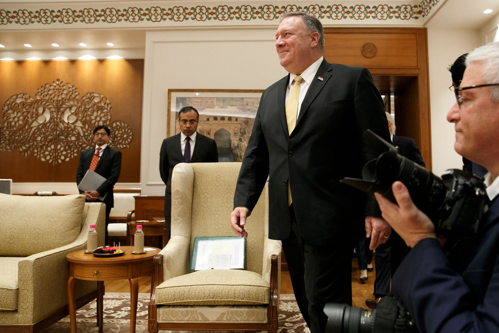 U.S. Secretary of State Mike Pompeo enters the room to meet with Indian Prime Minister Narendra Modi, at the Prime Minister's Residence, Wednesday, June 26, 2019, in New Delhi, India. (AP Photo/Jacquelyn Martin, Pool)