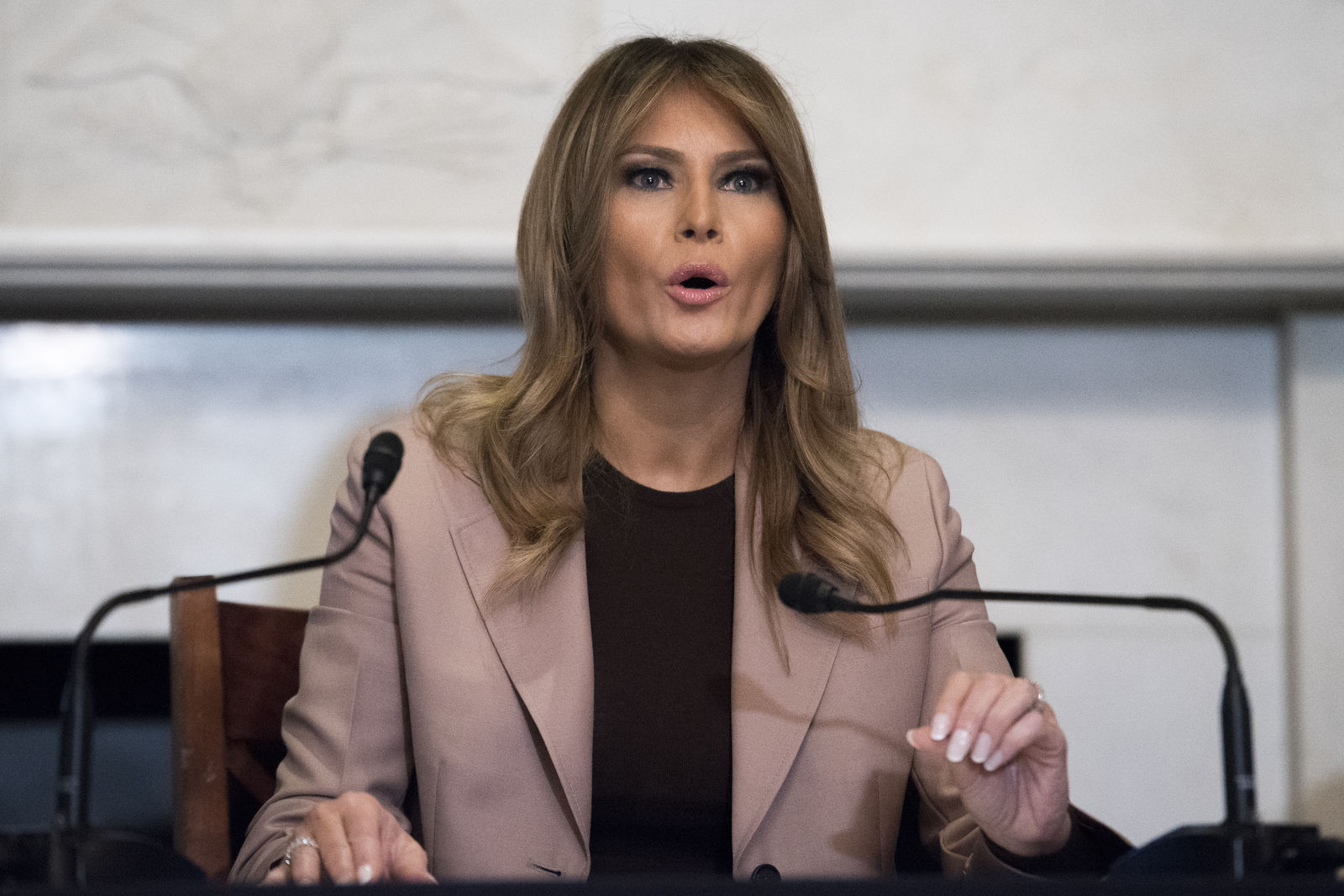 First lady Melania Trump participates in a roundtable discussion on the opioid crisis, on Capitol Hill in Washington, Wednesday, Oct. 23, 2019. The first lady marked the first anniversary of the President's signing of the SUPPORT for Patients and Communities Act and it's impact on the country. (AP Photo/Cliff Owen)
