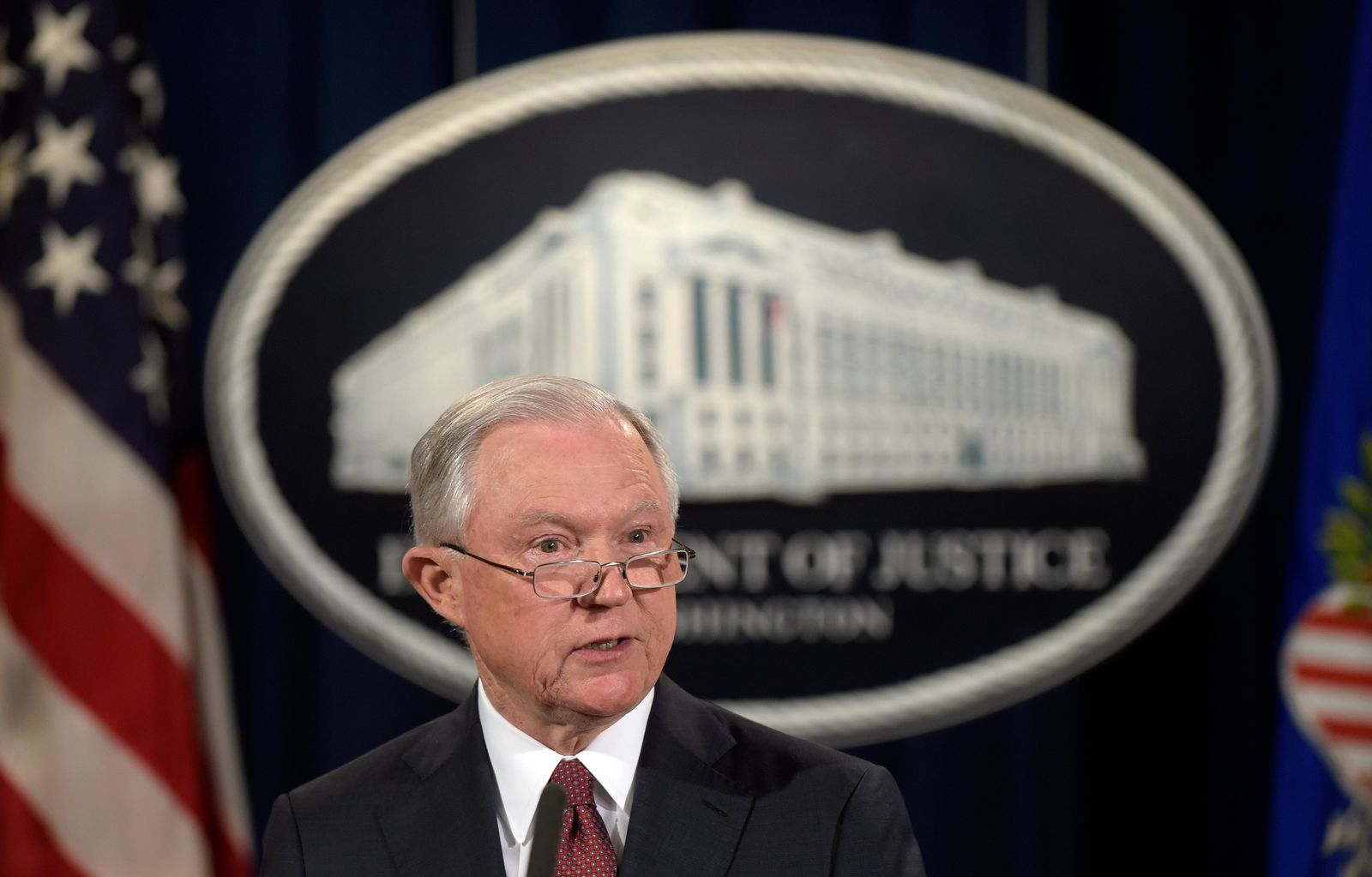 FILE - In this Sept. 5, 2017, file photo, Attorney General Jeff Sessions makes a statement at the Justice Department in Washington on President Barack Obama's Deferred Action for Childhood Arrivals, or DACA program. U.S. District Judge William Alsup on Tuesday, Jan. 9, 2018, granted a request by California and other plaintiffs to prevent President Donald Trump from ending DACA while their lawsuits play out in court. (AP Photo/Susan Walsh, File)