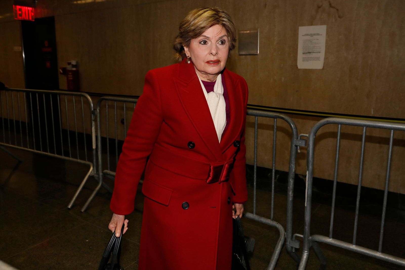 Attorney Gloria Allred arrives for the Harvey Weinstein rape trial, in New York, Friday, Jan. 24, 2020. (AP Photo/Richard Drew)