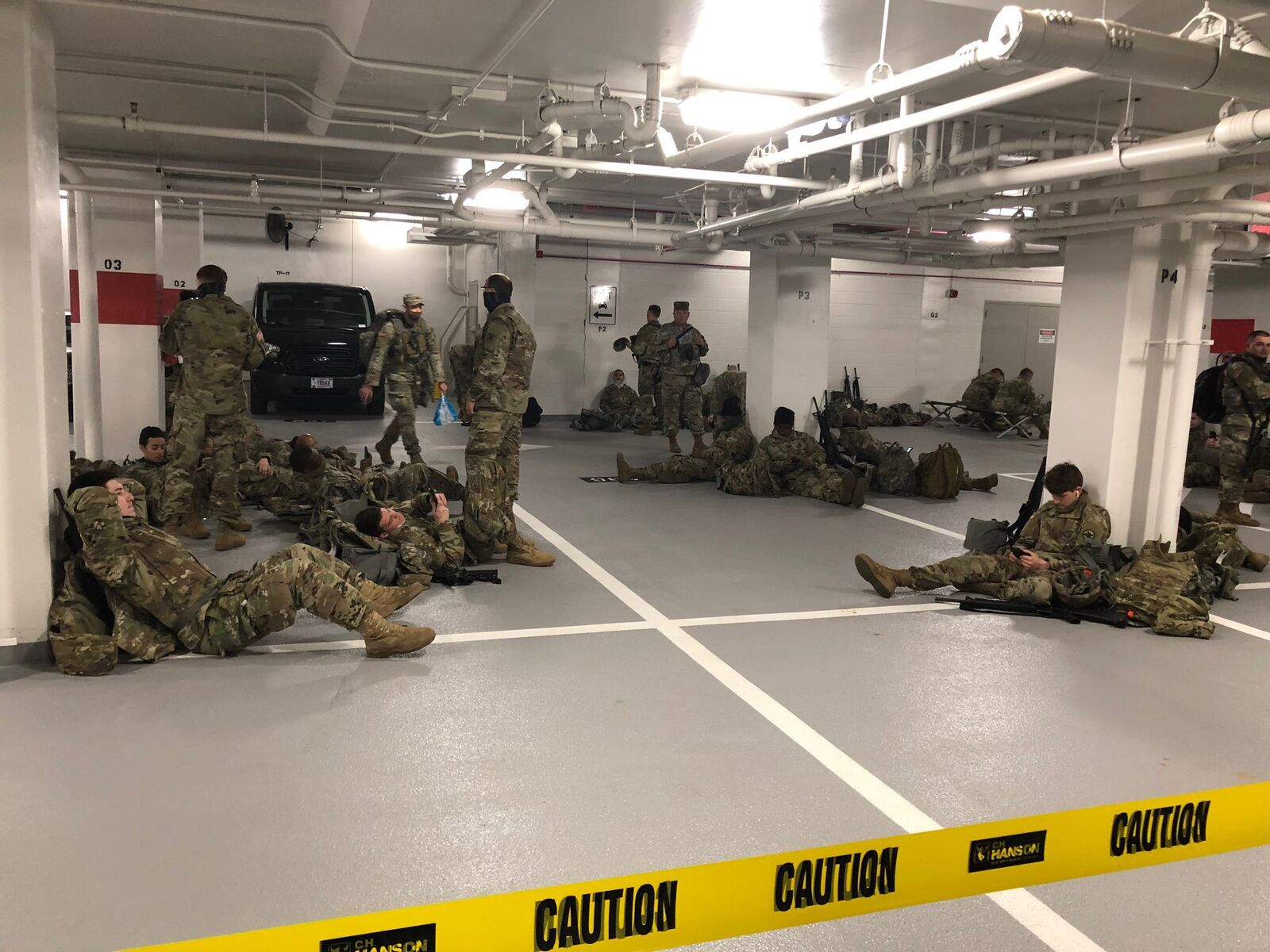 National Guardsmen forced to sleep in parking lot after being told to leave Capitol (Credit: Rep. Tim Scott/WPDE)