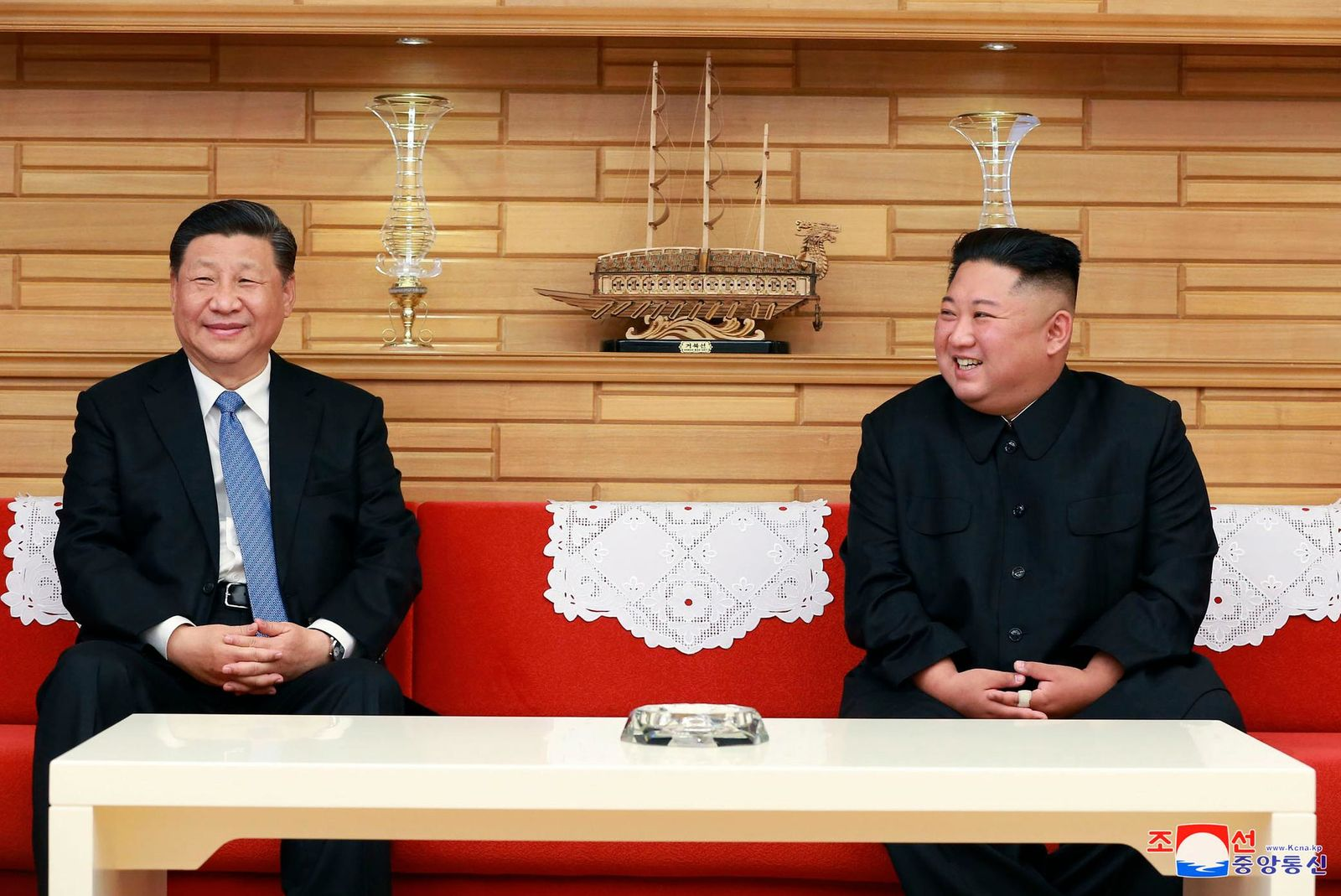 "In this Thursday, June 20, 2019, photo provided by the North Korean government, North Korean leader Kim Jong Un, right, and Chinese President Xi Jinping meet at Kumsusan guest house in Pyongyang, North Korea. The content of this image is as provided and cannot be independently verified. Korean language watermark on image as provided by source reads: ""KCNA"" which is the abbreviation for Korean Central News Agency. (Korean Central News Agency/Korea News Service via AP)"