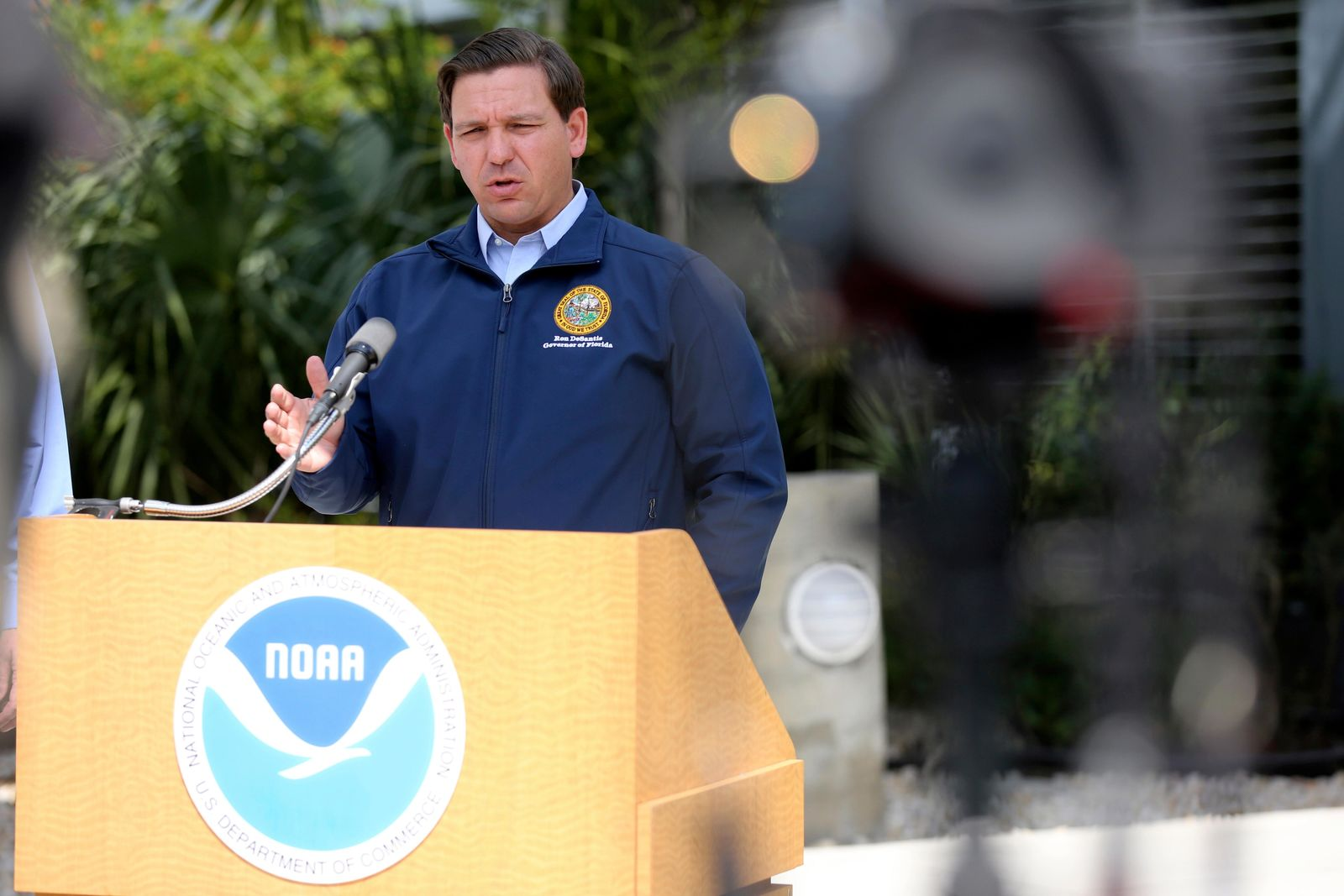 Florida Gov. Ron DeSantis speaks about Tropical Storm Dorian outside of the the National Hurricane Center, Thursday, Aug. 29, 2019, in Miami. (AP Photo/Lynne Sladky)