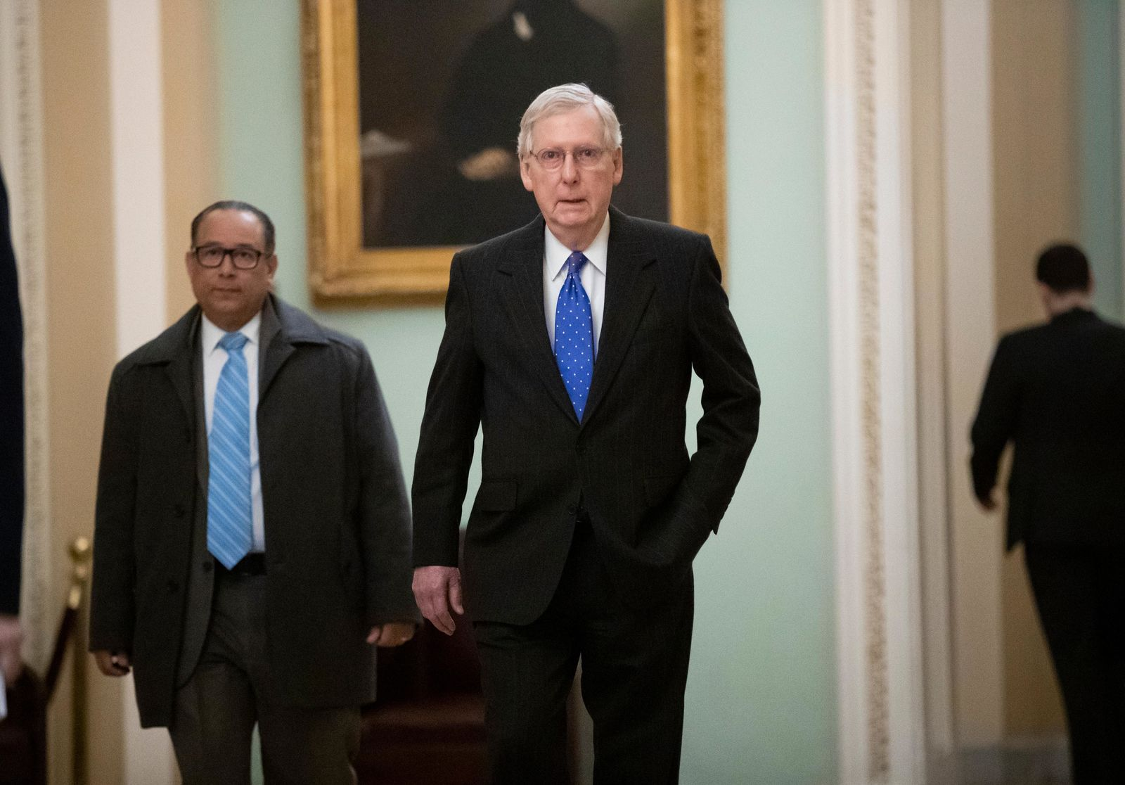 Senate Majority Leader Mitch McConnell, R-Ky., arrives at the Capitol in Washington, Wednesday, Nov. 14, 2018, as Senate Republicans are facing renewed pressure to pass legislation to protect special counsel Robert Mueller. (AP Photo/J. Scott Applewhite)