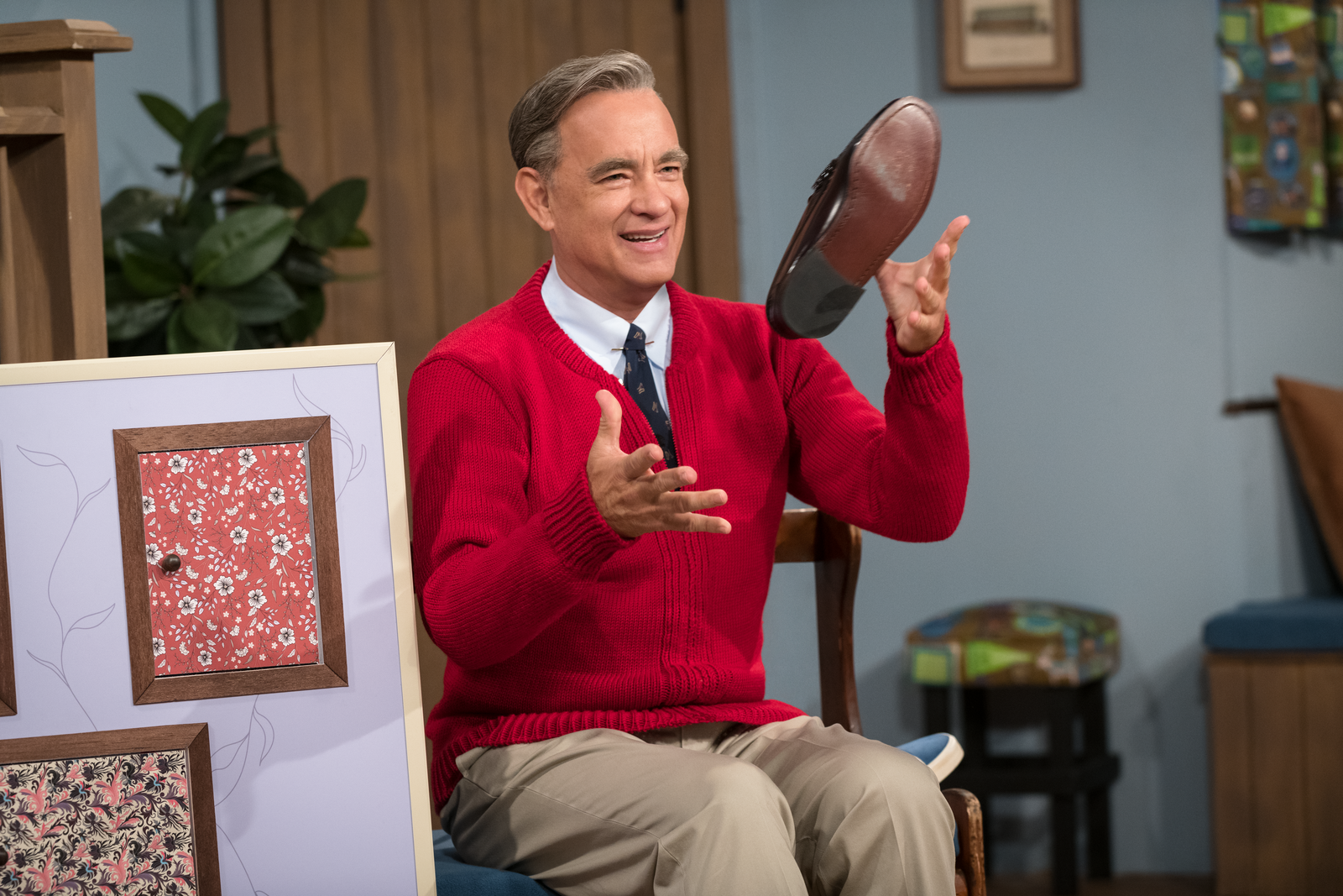 Two-time Oscar®-winner Tom Hanks portrays one of America's most cherished icons, Mister Rogers, on the set of TriStar Pictures' Untitled Mr. Rogers / Tom Hanks Project.{ }| Photo: Sony Pictures Entertainment