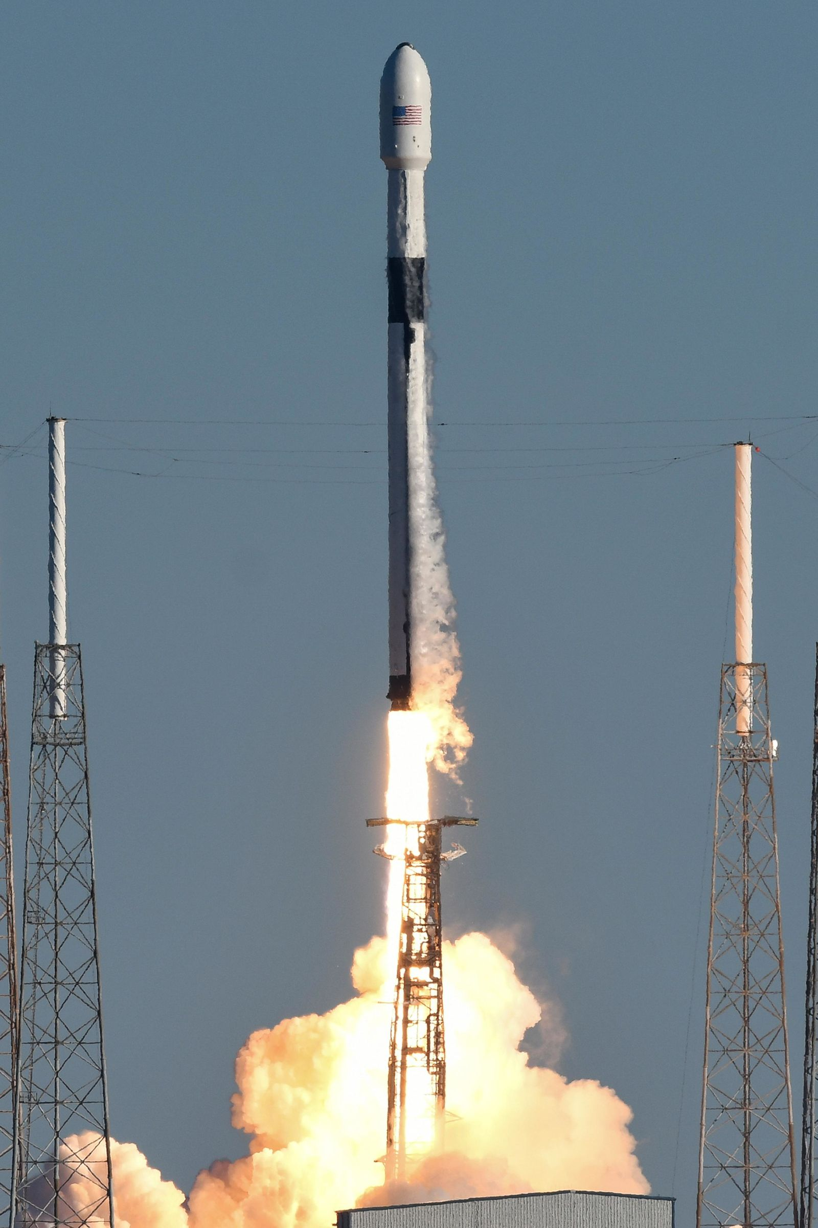 A SpaceX Falcon 9 rocket lifts off at the Cape Canaveral Air Force Station in Cape Canaveral, Fla., Sunday, Dec. 23, 2018. The rocket is carrying the U.S. Air Force's most powerful GPS satellite ever built. (Craig Bailey/Florida Today via AP)