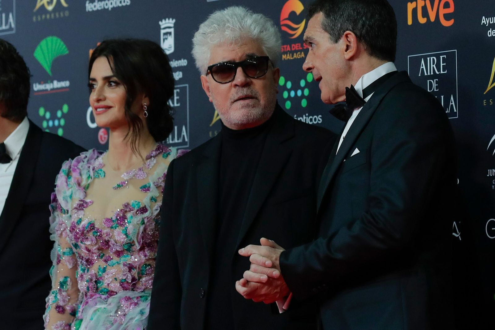 Spanish actor Antonio Banderas, Spanish film director Pedro Almodovar and Spanish actress Penelope Cruz, from right, pose for photographers at the red carpet ahead the Goya Film Awards Ceremony in Malaga, southern Spain, Saturday, Jan. 25, 2020. The annual Goya Awards are Spain's main national film awards. (AP Photo/Manu Fernandez)