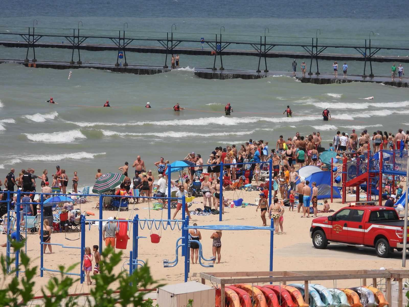 For awhile it was believed there might be a another victim in need of a water rescue on Friday. SHAES responders formed a rescue rope line, until they determined that there was not a second person. (WWMT/Courtesy of South Haven Area Emergency Services)