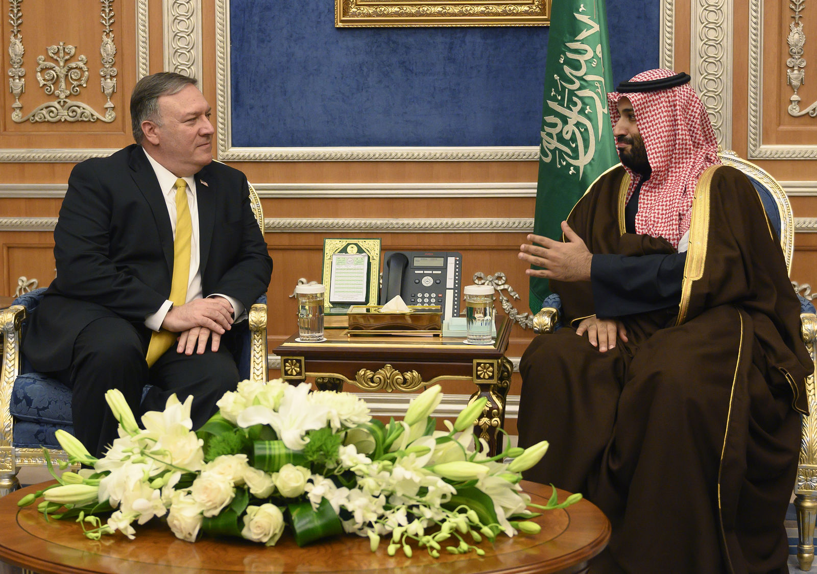 Saudi Crown Prince Mohammed bin Salman, right meets with U.S. Secretary of State Mike Pompeo at the Royal Court, in Riyadh, Saudi Arabia, Monday, January 14, 2019. Pompeo met with King Salman and the crown prince on the latest stop of his Middle East tour that has so far been dominated by questions and concerns about the withdrawal of U.S. troops from Syria. (Andrew Cabellero-Reynolds/Pool via AP)