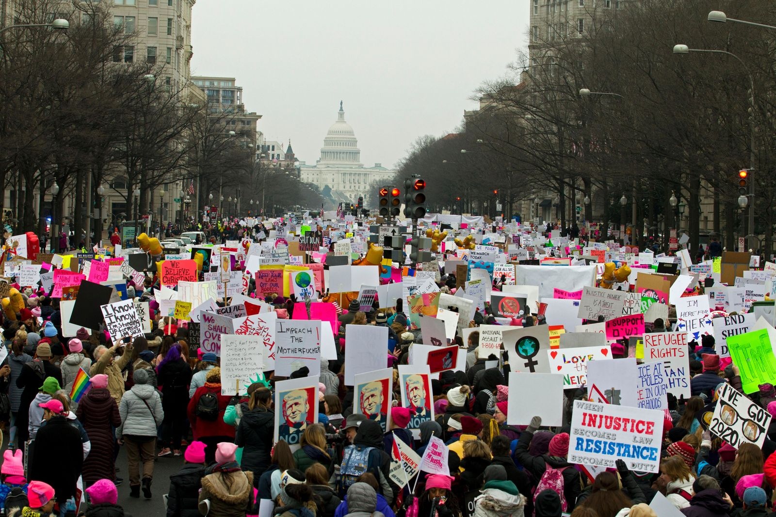 Demonstrators march on Pennsylvania Av. during the Women's March in Washington on Saturday, Jan. 19, 2019. (AP Photo/Jose Luis Magana)