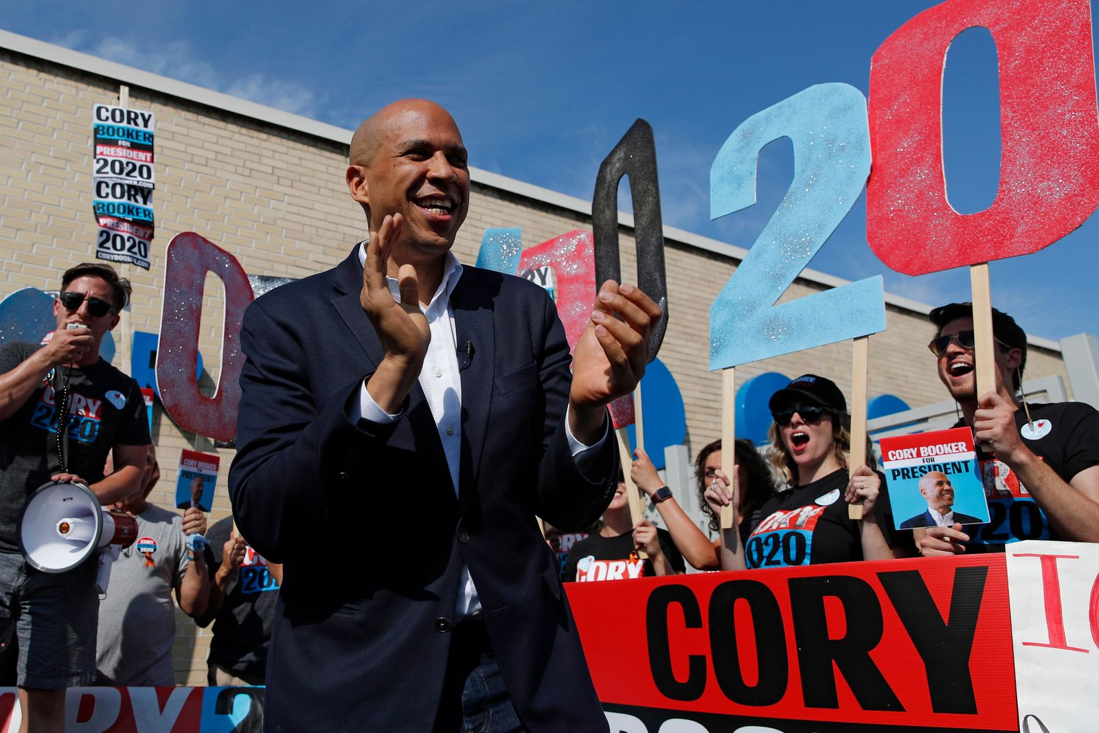In this Aug. 9, 2019 photo, Democratic presidential candidate Sen. Cory Booker speaks to supporters before the Iowa Democratic Wing Ding at the Surf Ballroom in Clear Lake, Iowa. (AP Photo/John Locher)